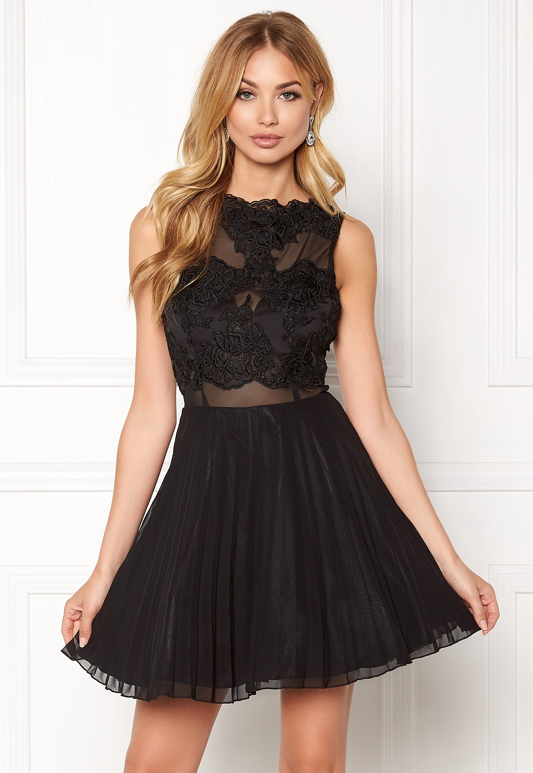 279ed3297144 AX Paris Lace Top Skater Dress Black - Bubbleroom