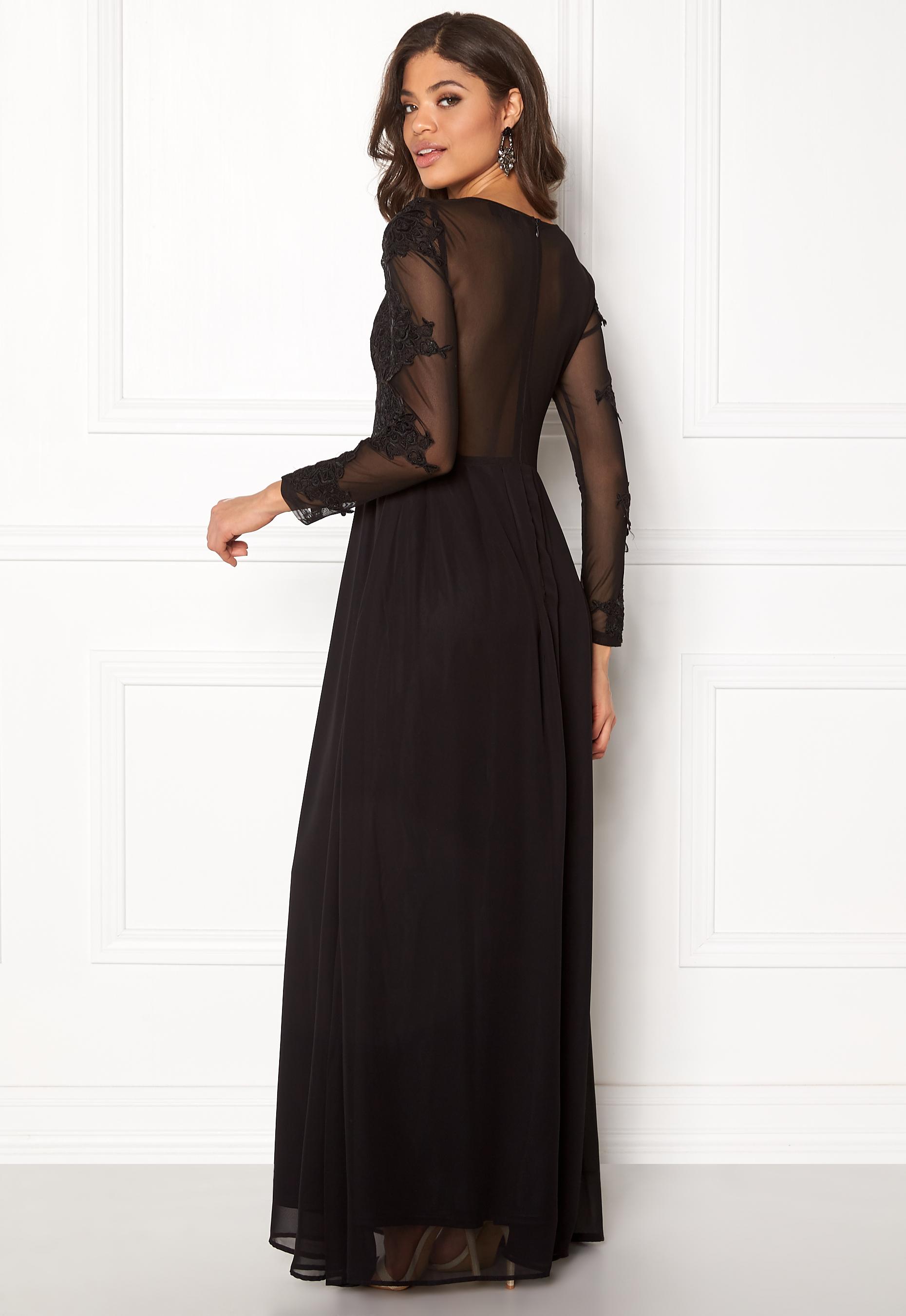 4d151c16a87 Ax Paris Black Long Sleeve Lace Maxi Dress