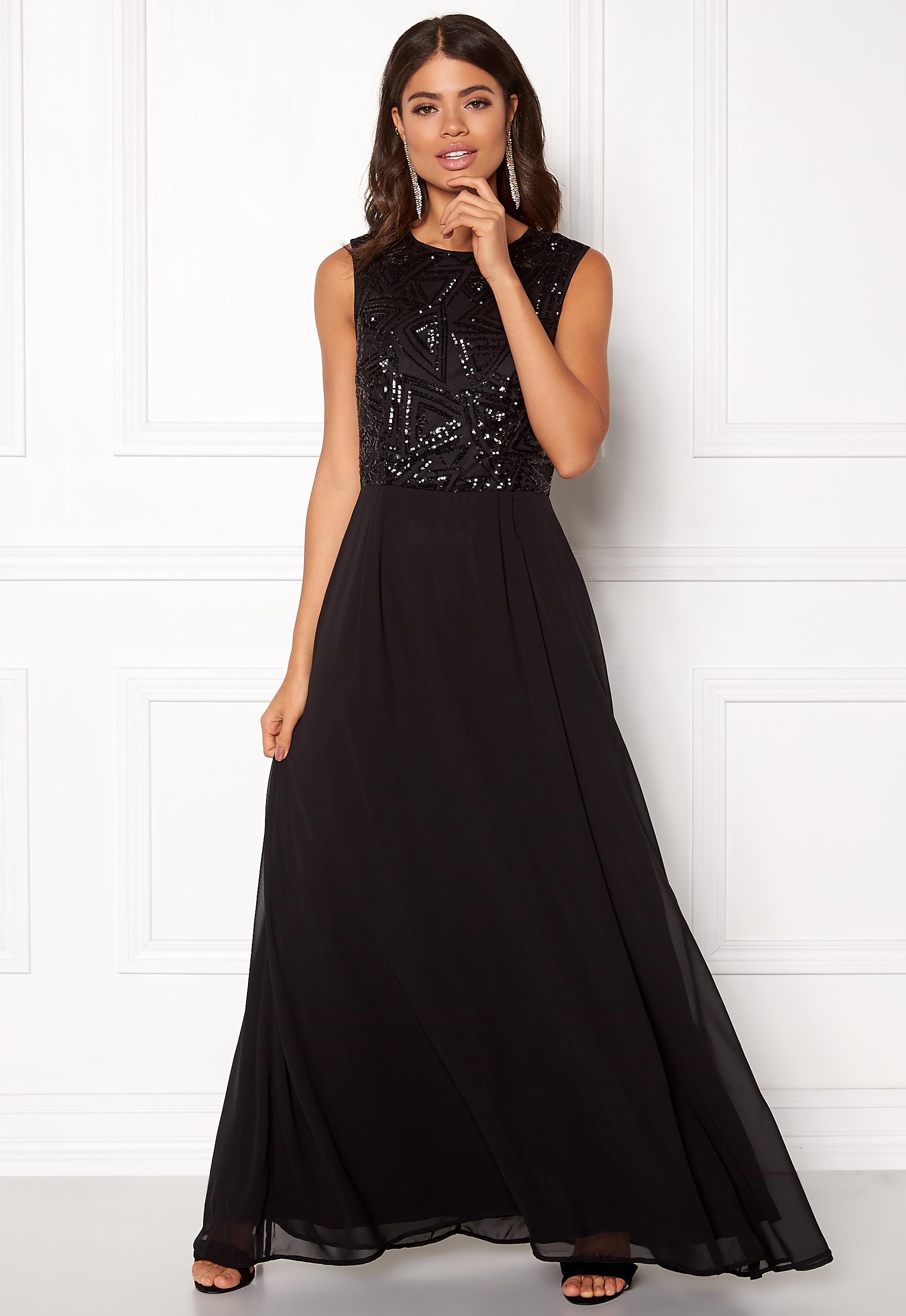567326f820da AX Paris Sequin Chiffon Maxi Dress Black - Bubbleroom