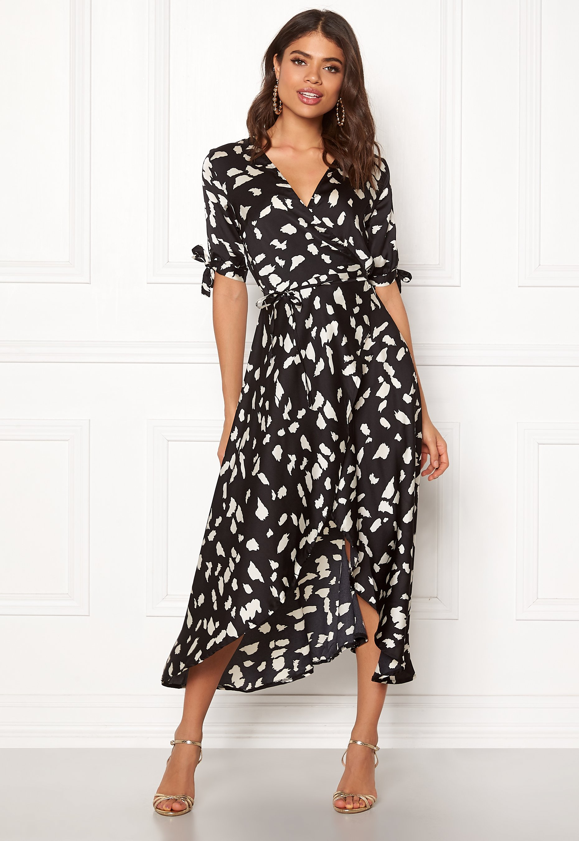 b36fff262 AX Paris Wrap Front Printed Dress Black - Bubbleroom