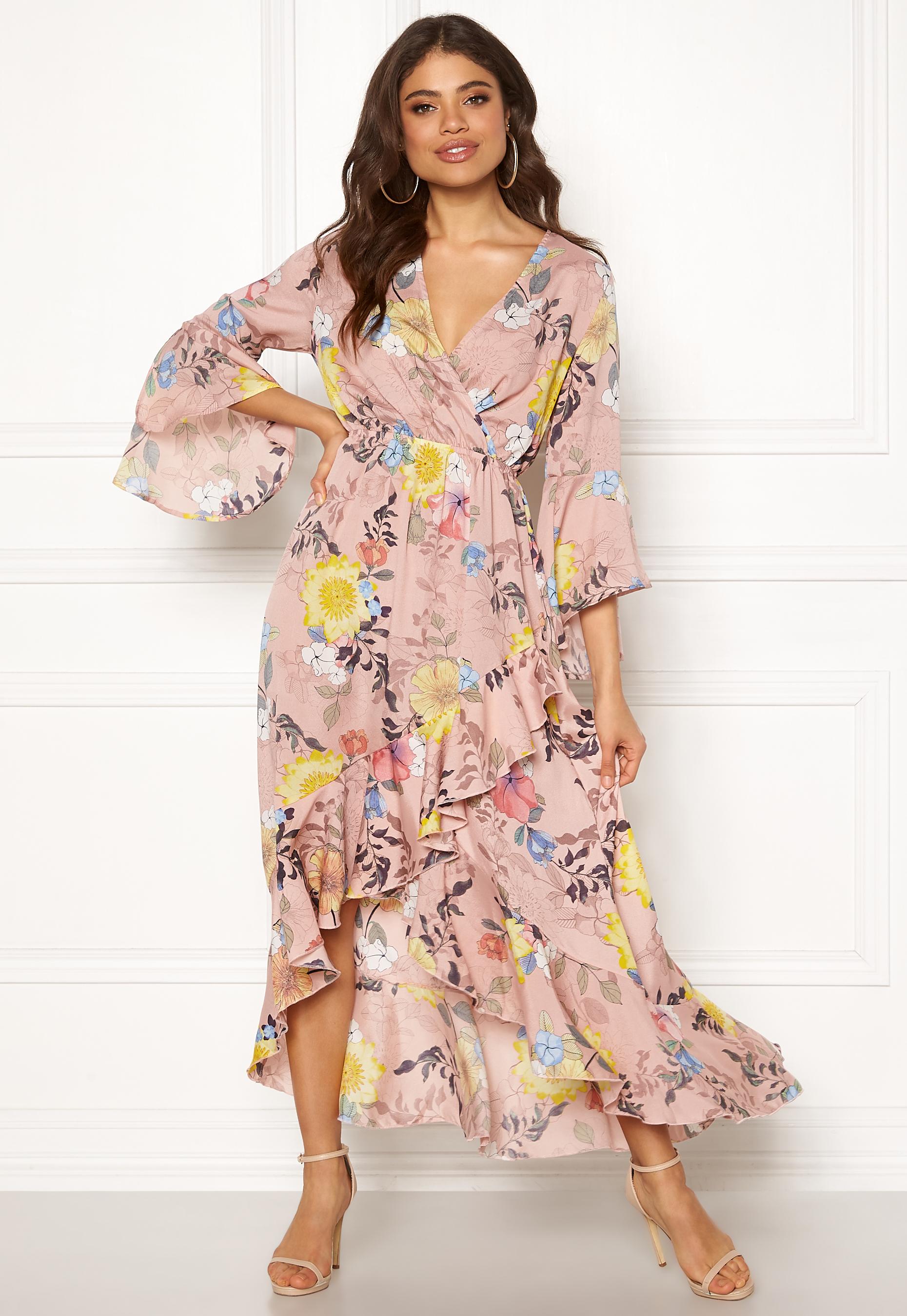 473d561457 Blue Vanilla Floral Frilly Maxi Dress Pink - Bubbleroom