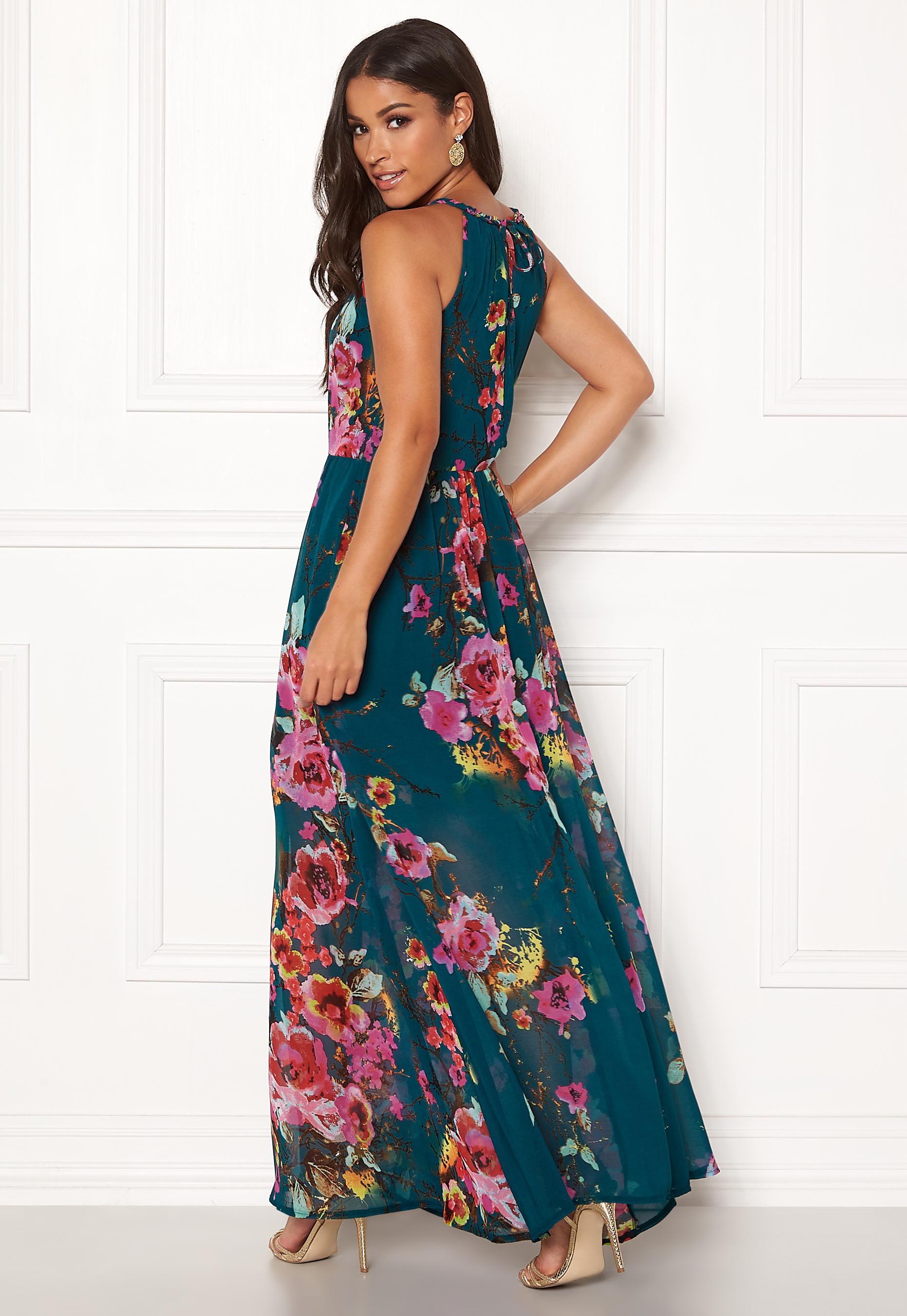 4ea125b0f2 Blue Vanilla Floral Keyhole Maxi Dress Green - Bubbleroom