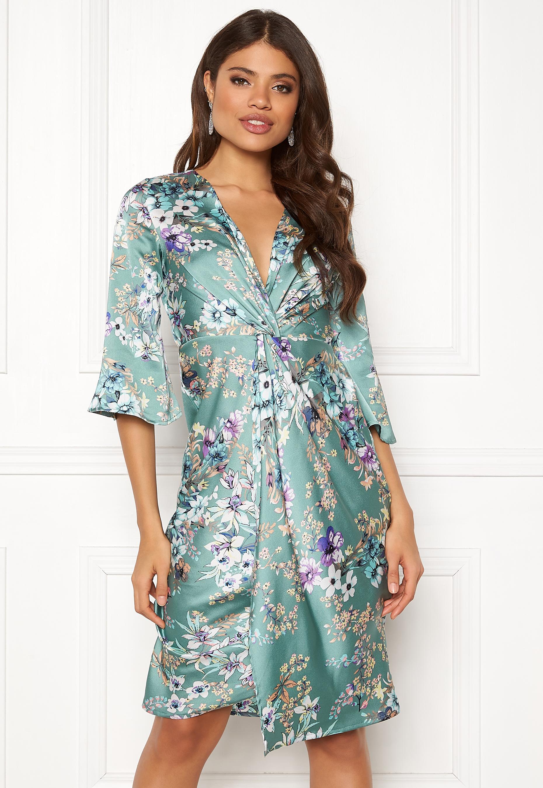 719a88070b Blue Vanilla Floral Twist Midi Dress Mint - Bubbleroom