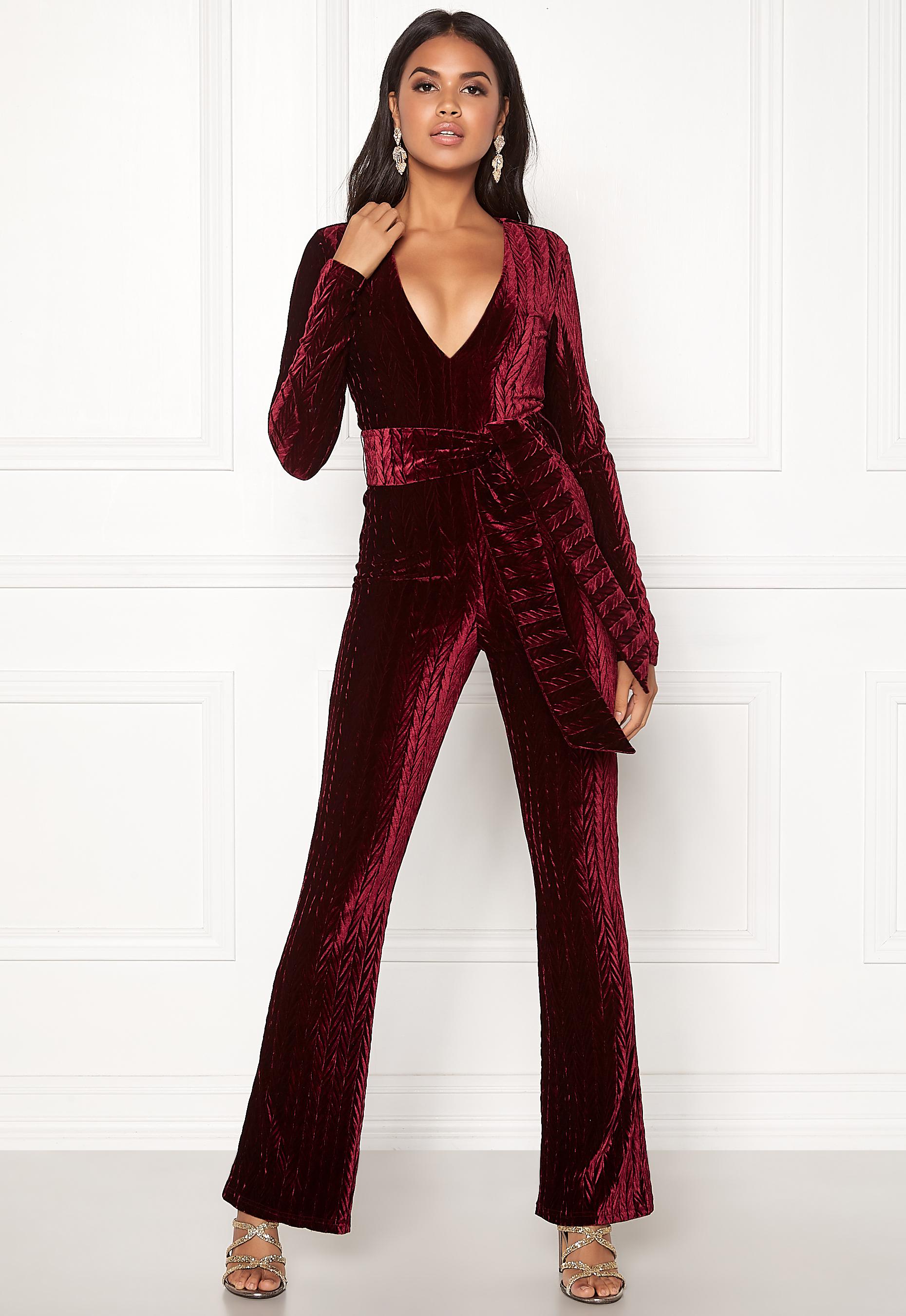 5bb946f6 BUBBLEROOM Lene jumpsuit Wine-red - Bubbleroom