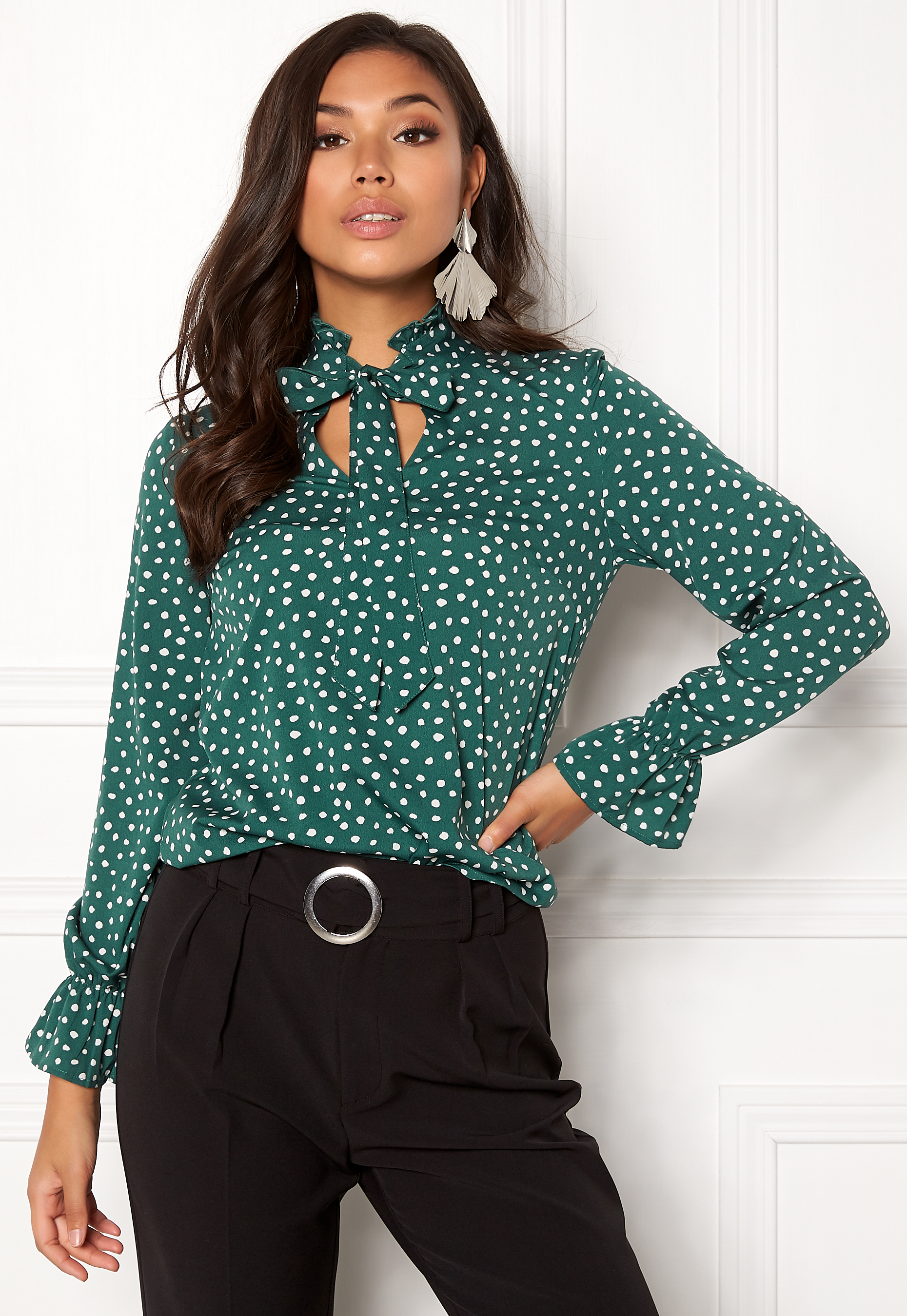 Bubbleroom Louisa Blouse Dark Green Dotted