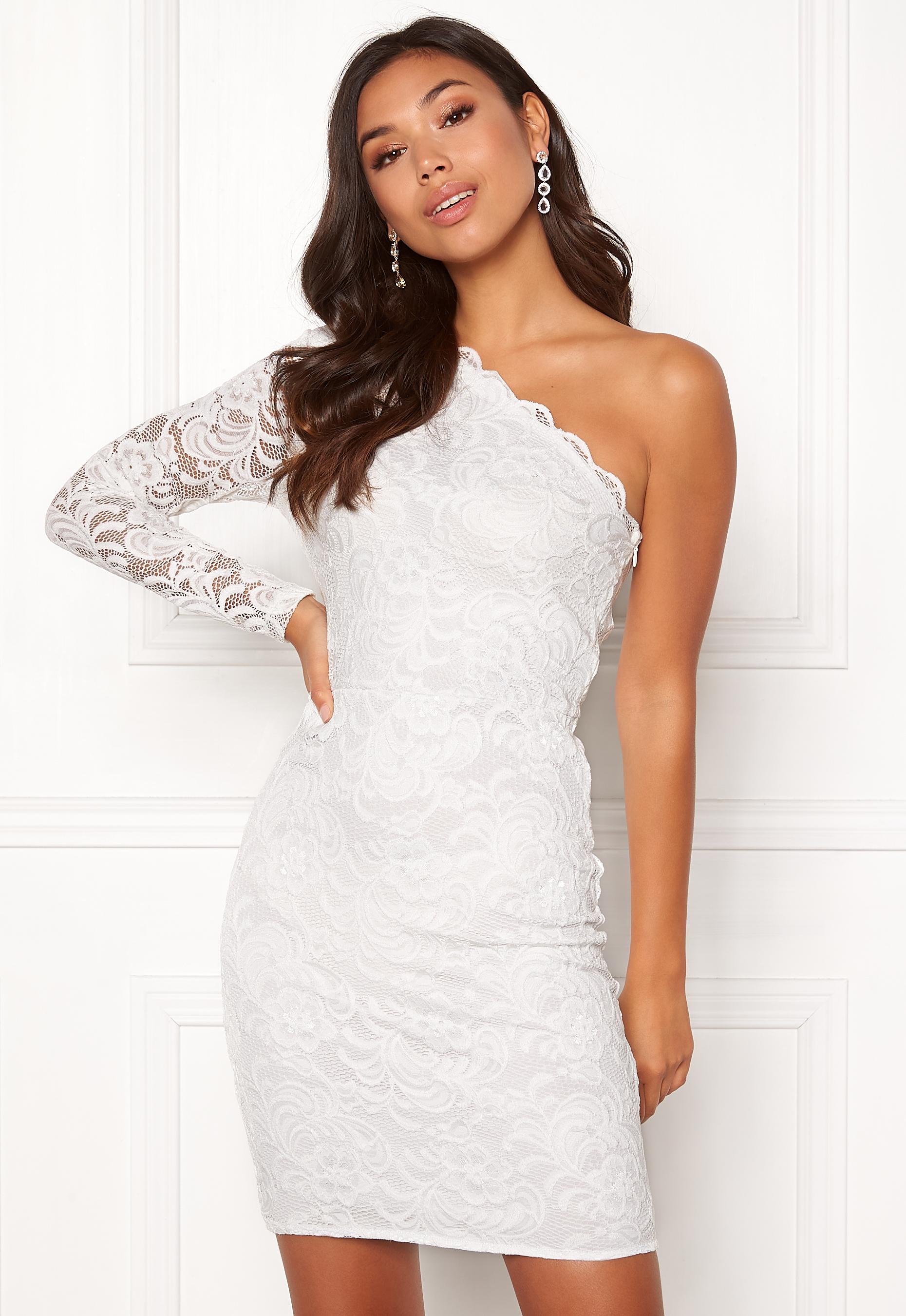 355b17ec333 BUBBLEROOM Marianna lace one shoulder dress White - Bubbleroom