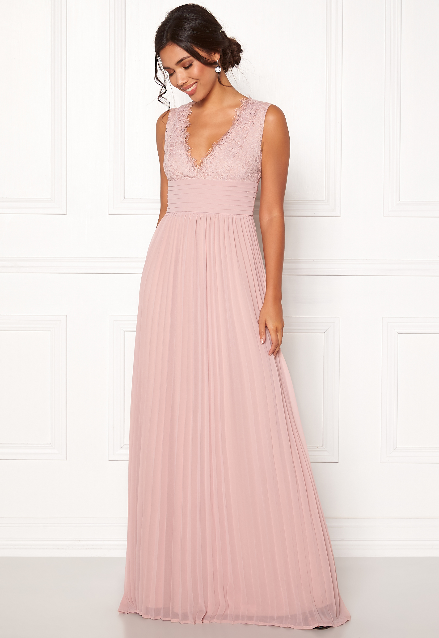 BUBBLEROOM Marianna lace top gown Dusty pink - Bubbleroom 676a11802213e
