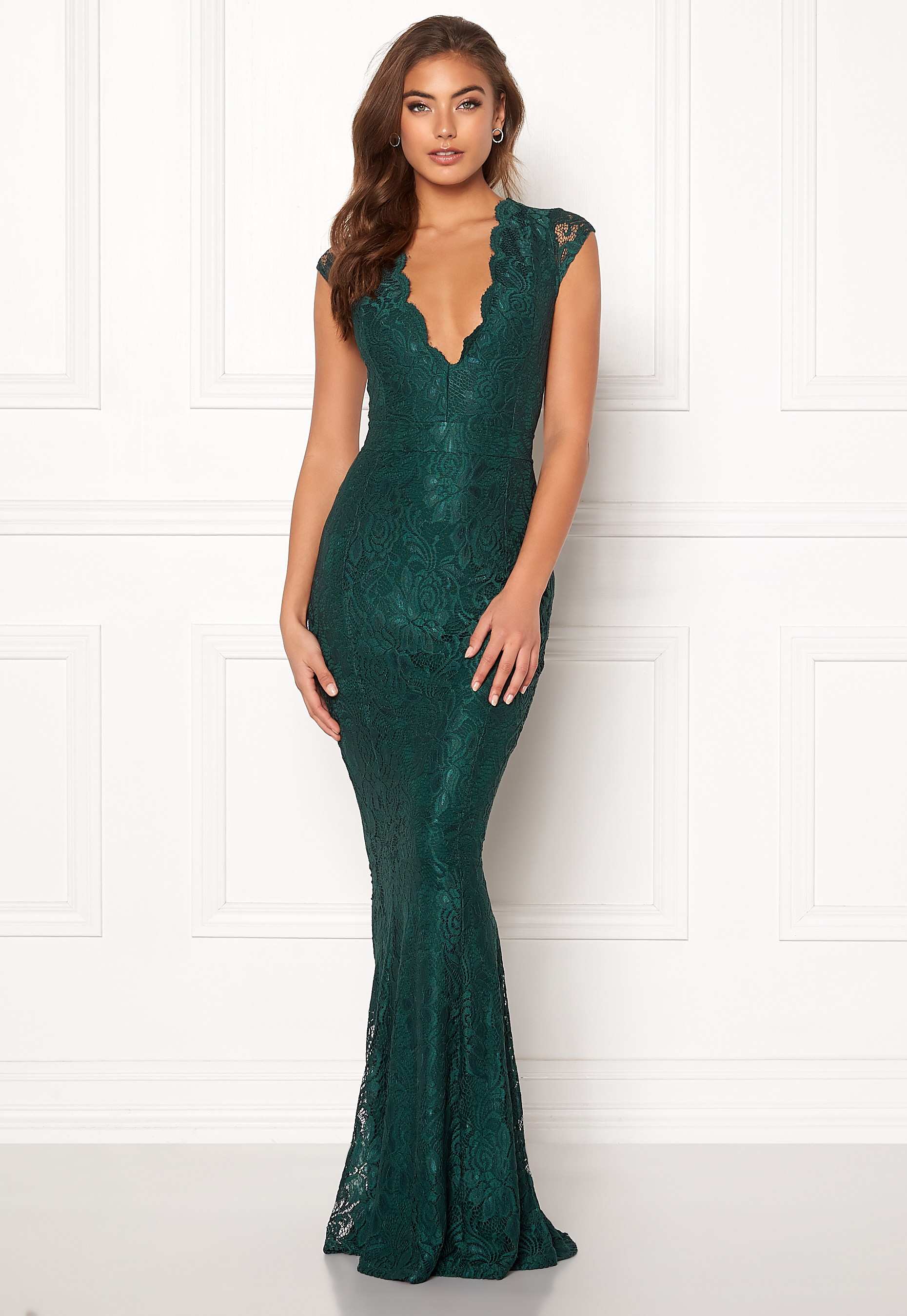 3a994890 BUBBLEROOM Valencia lace dress Dark green - Bubbleroom