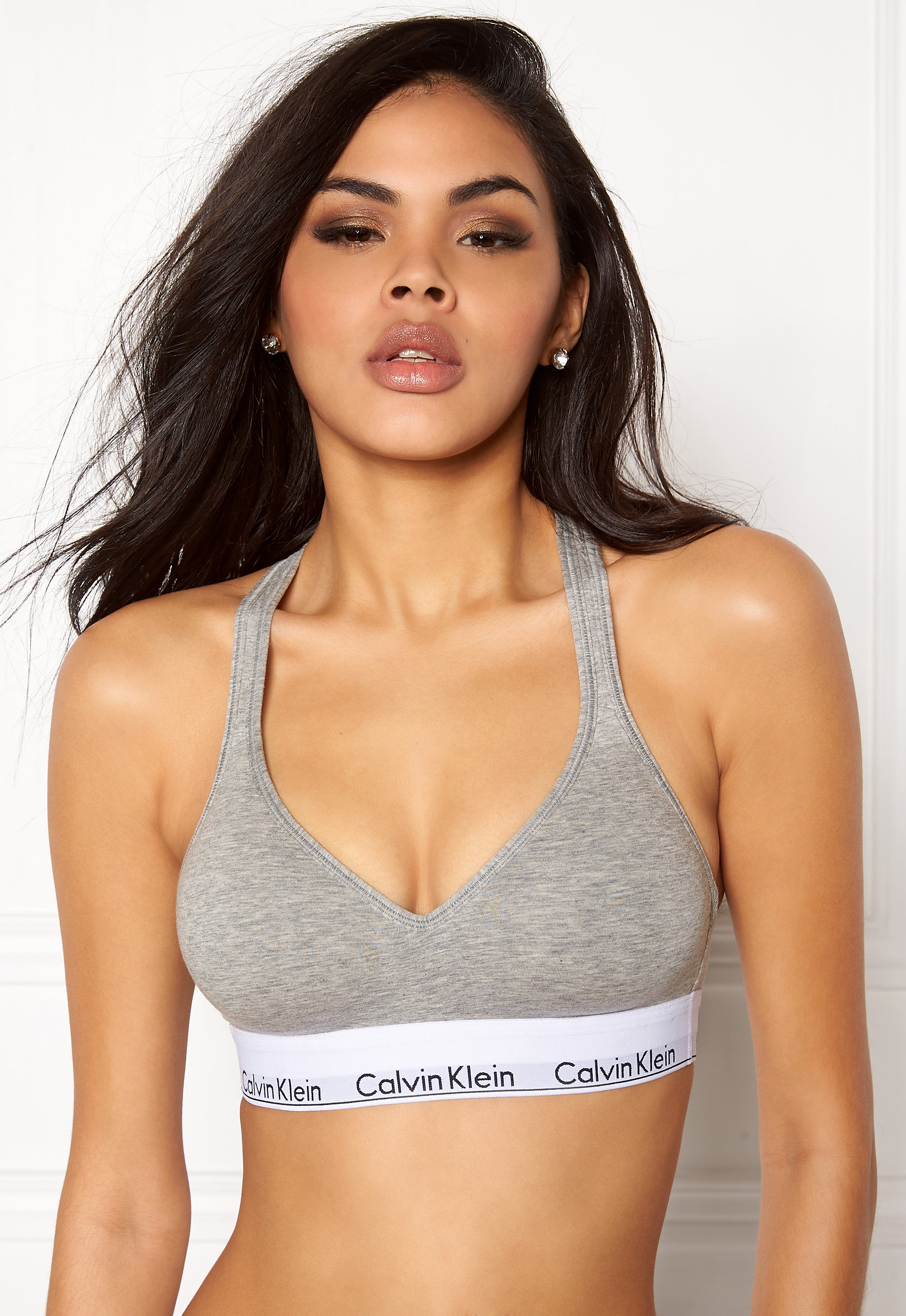 ab43a8b2435907 Calvin Klein CK Cotton Bralette Lift 020 Grey Feather - Bubbleroom