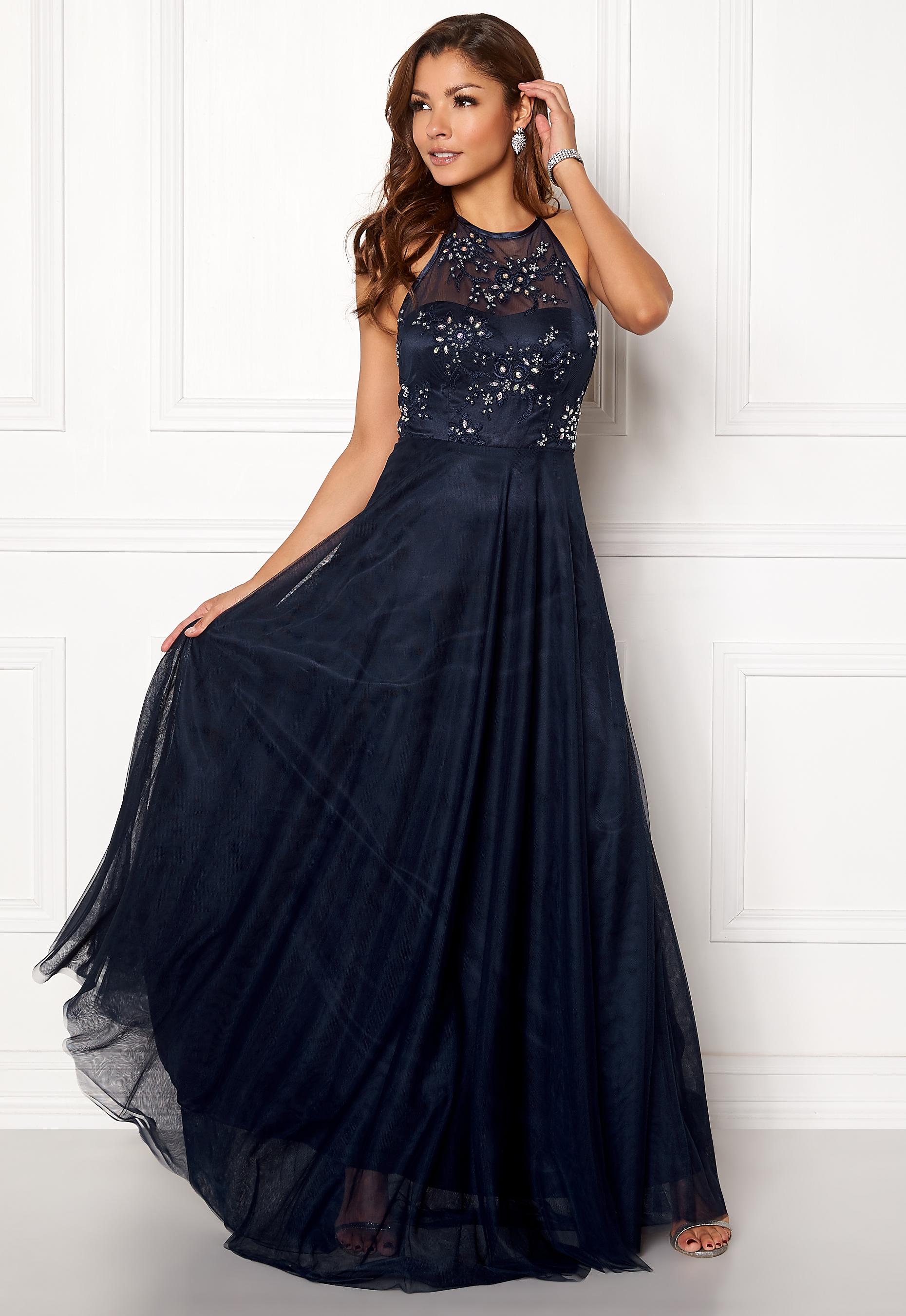 30e8de3f24b7 Chiara Forthi Briley Halterneck Gown Dark blue - Bubbleroom