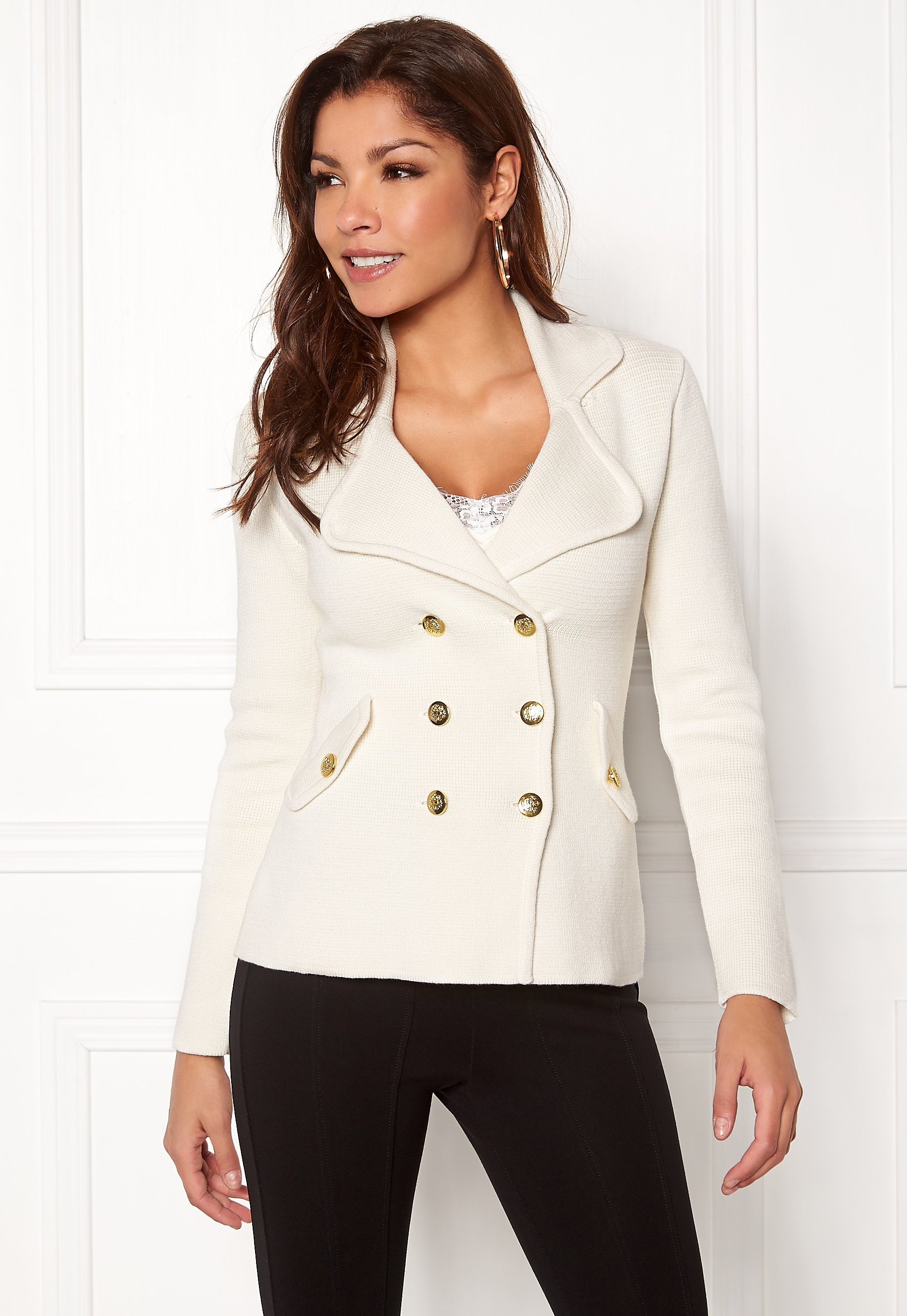 132cd657a25 Chiara Forthi Chiara Heavy Knit Blazer Antique white - Bubbleroom