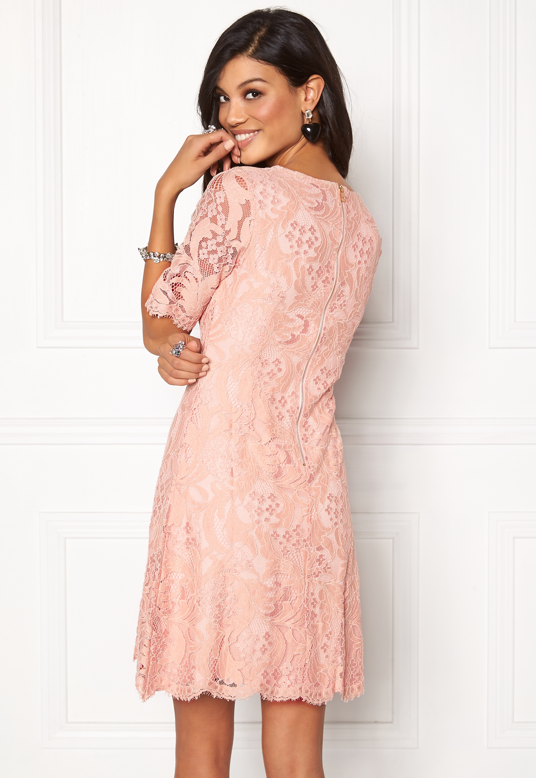 c71a8050343d2 Chiara Forthi Michelle Lace Dress Old rose / Gold - Bubbleroom