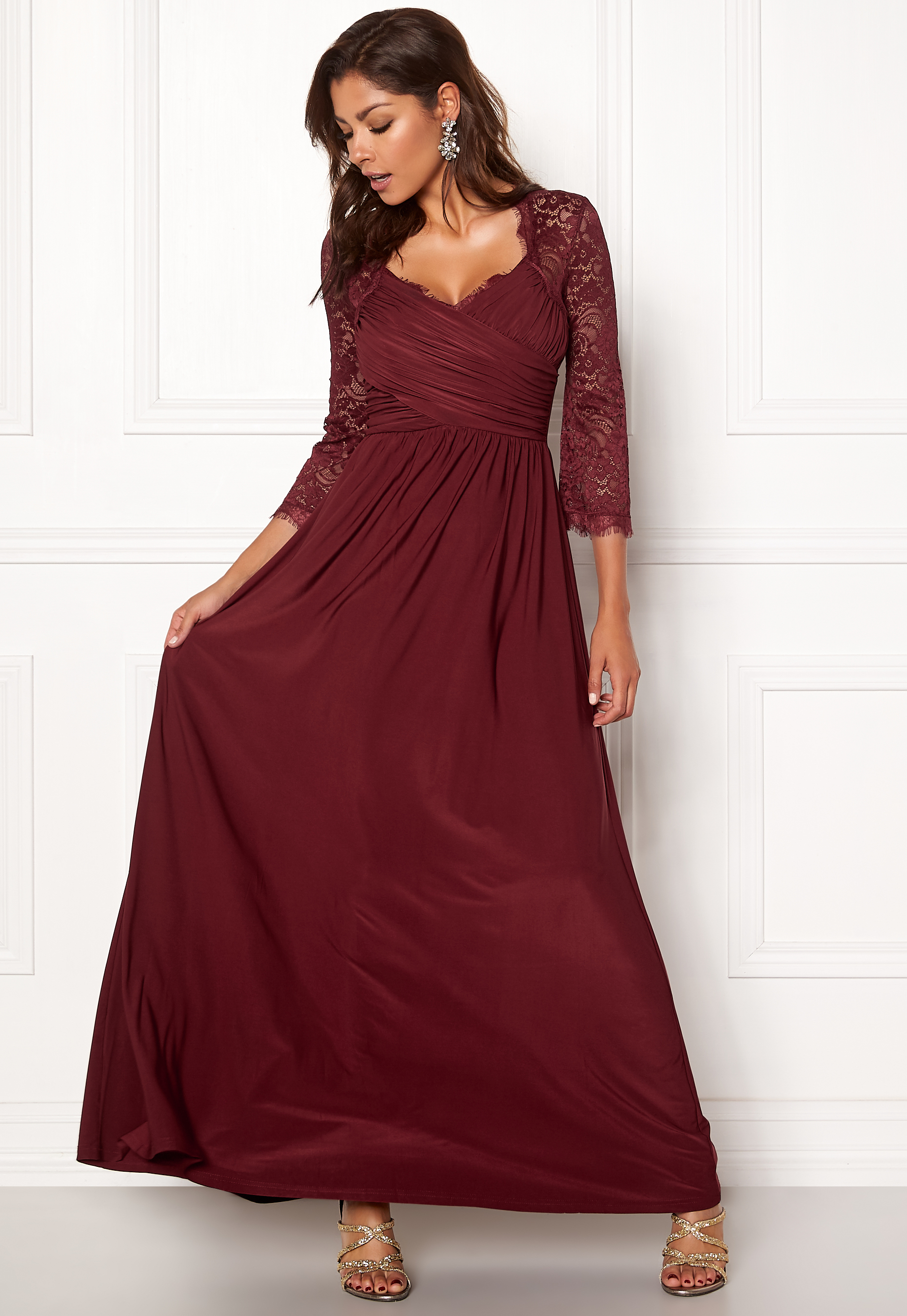 Chiara Forthi Nathalia Maxi Dress Wine-red - Bubbleroom ab93ebfc97