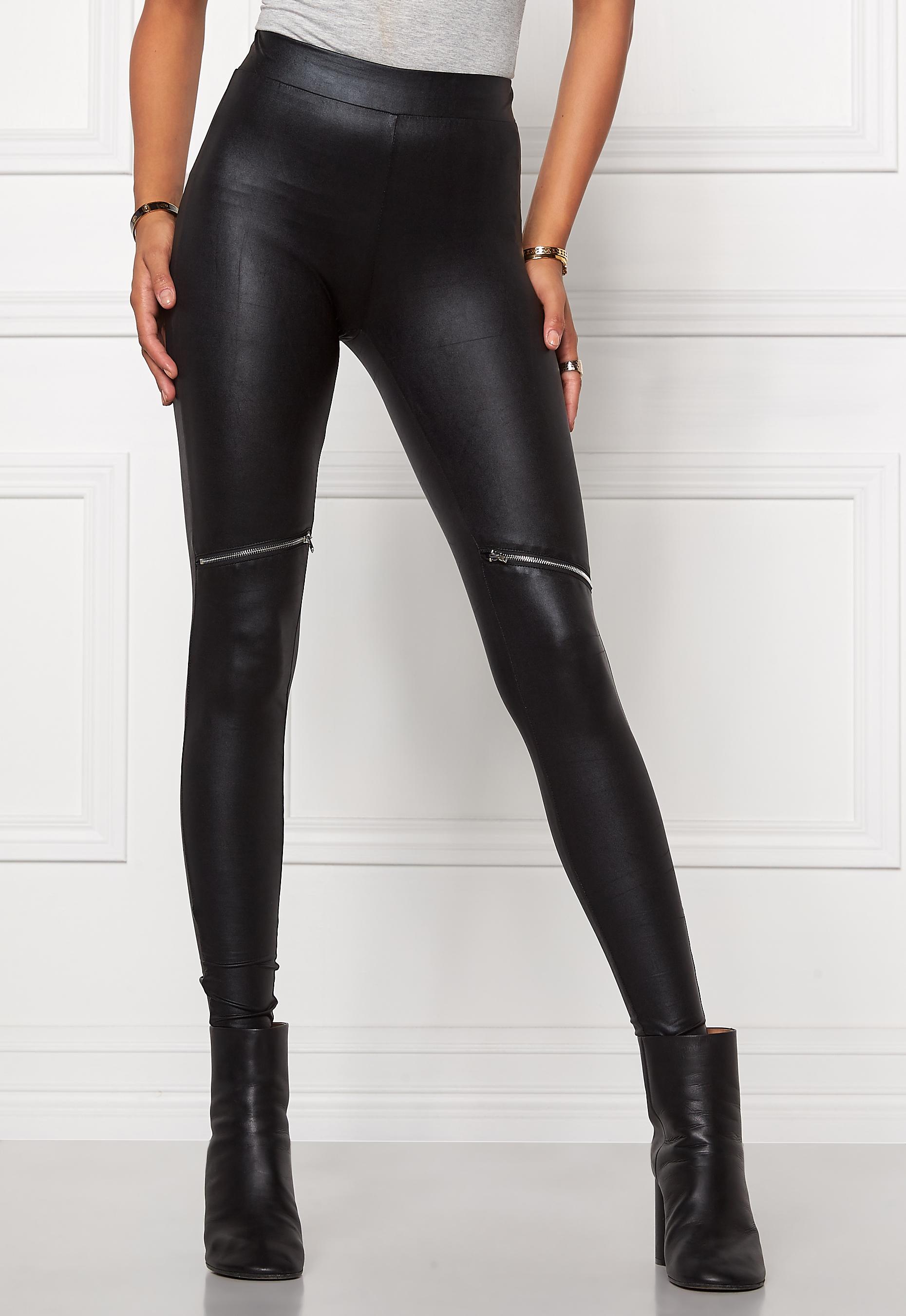 Chiara Forthi Zipped Shiny Leggings Black / Silver
