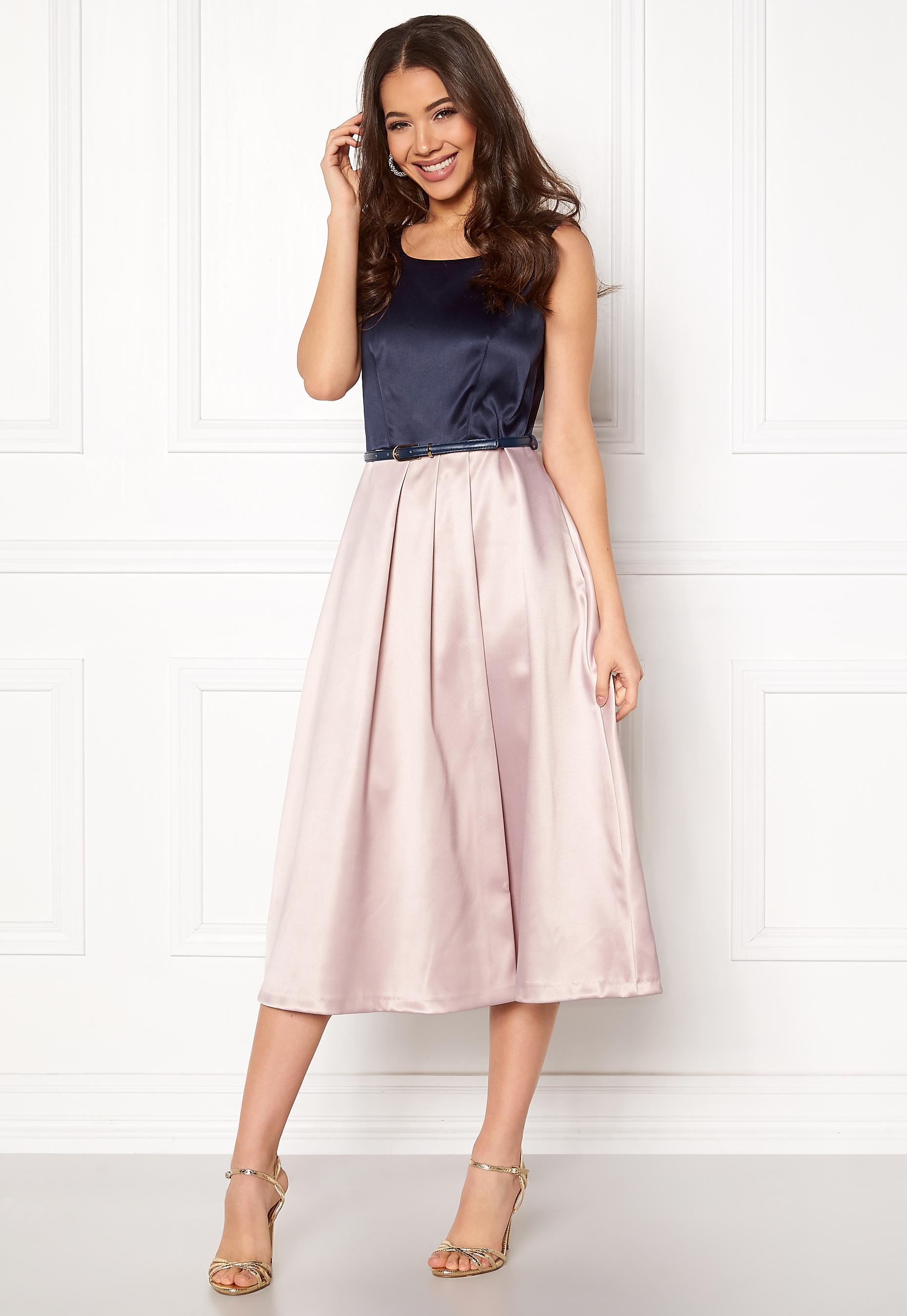 Closet London Midi Dress With Belt Navyblush Bubbleroom