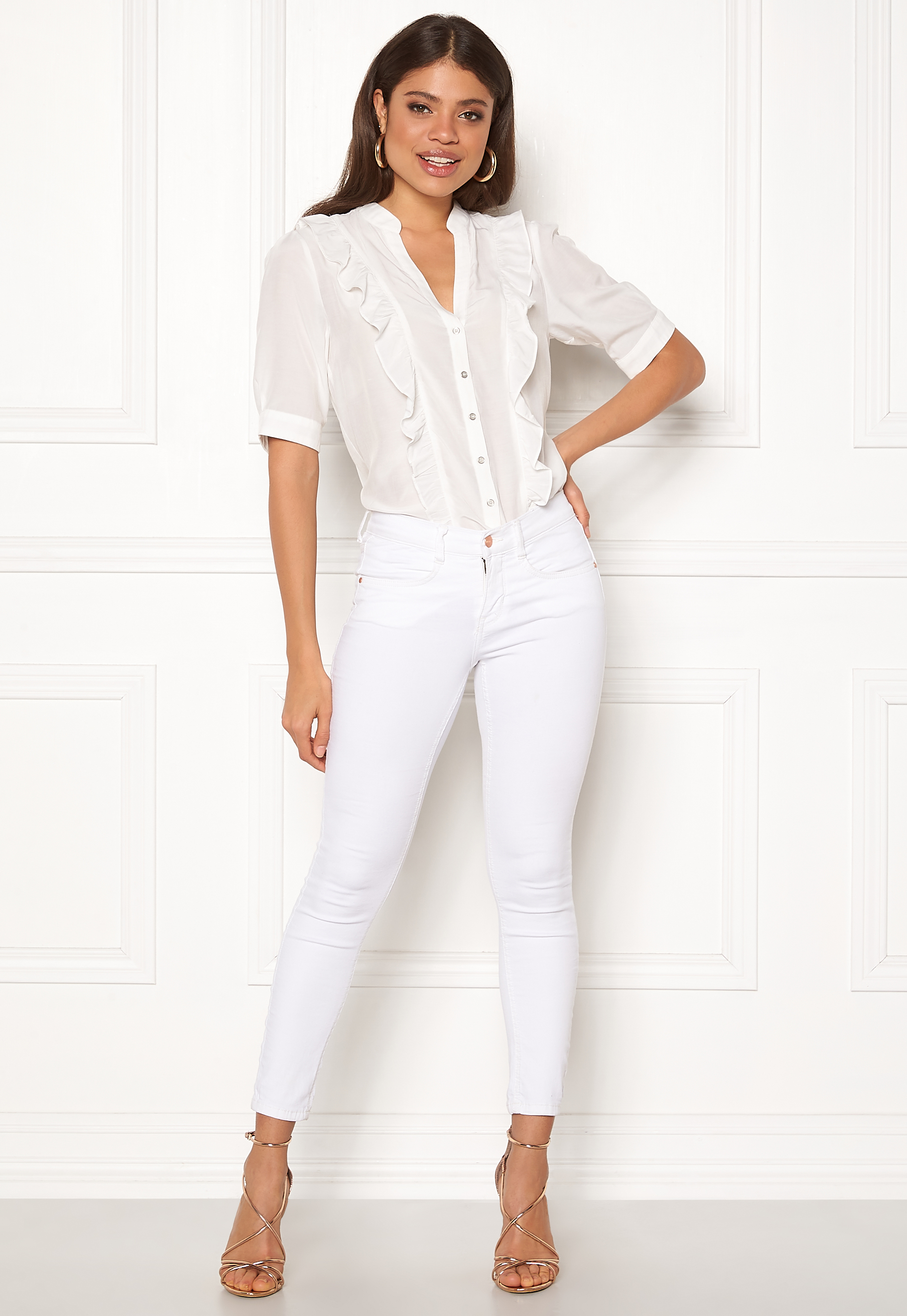 f5884b75 co'couture Essential Frill Shirt Off White - Bubbleroom
