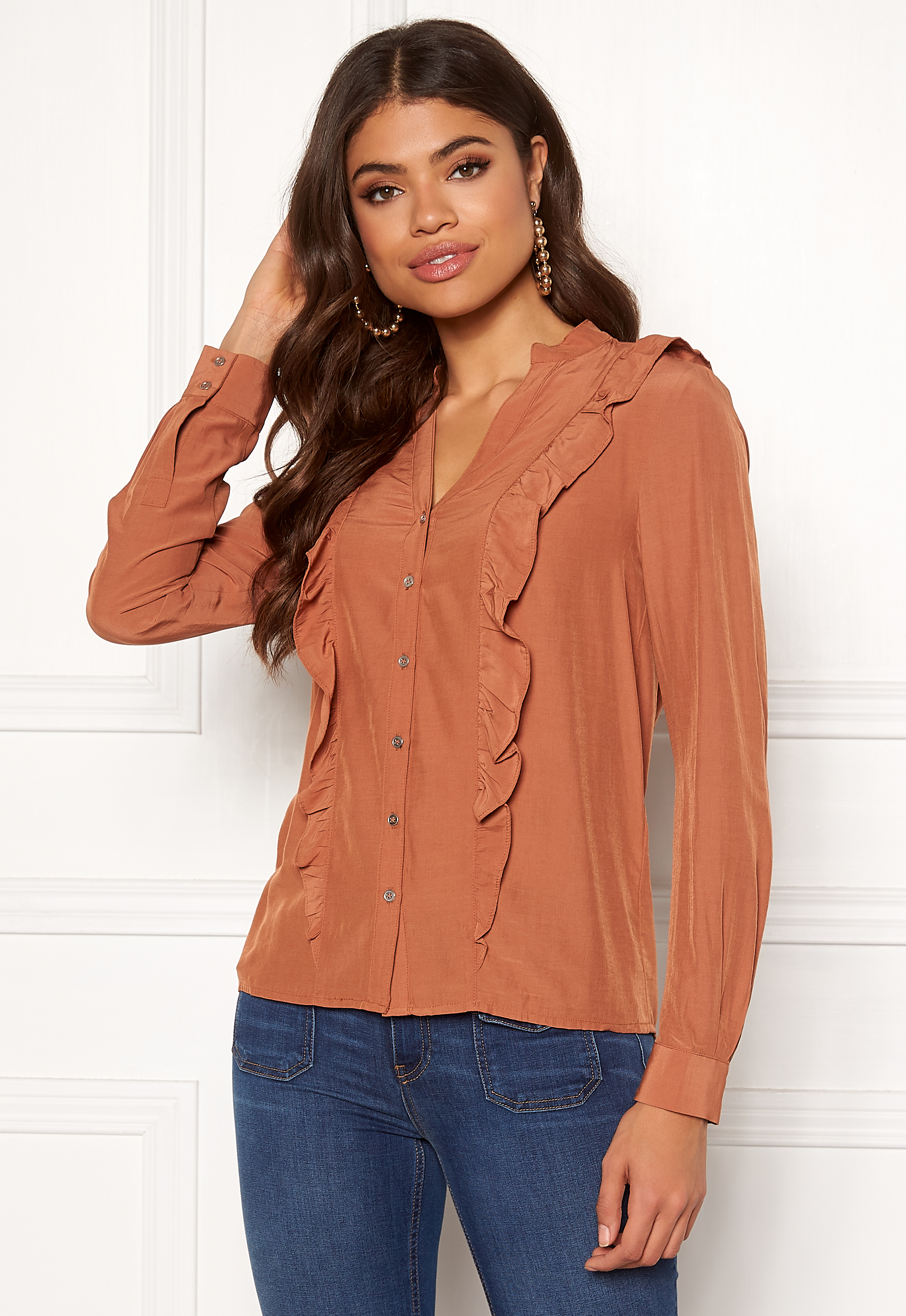 50f19009 co'couture Florence Frill Shirt Peach Skin - Bubbleroom