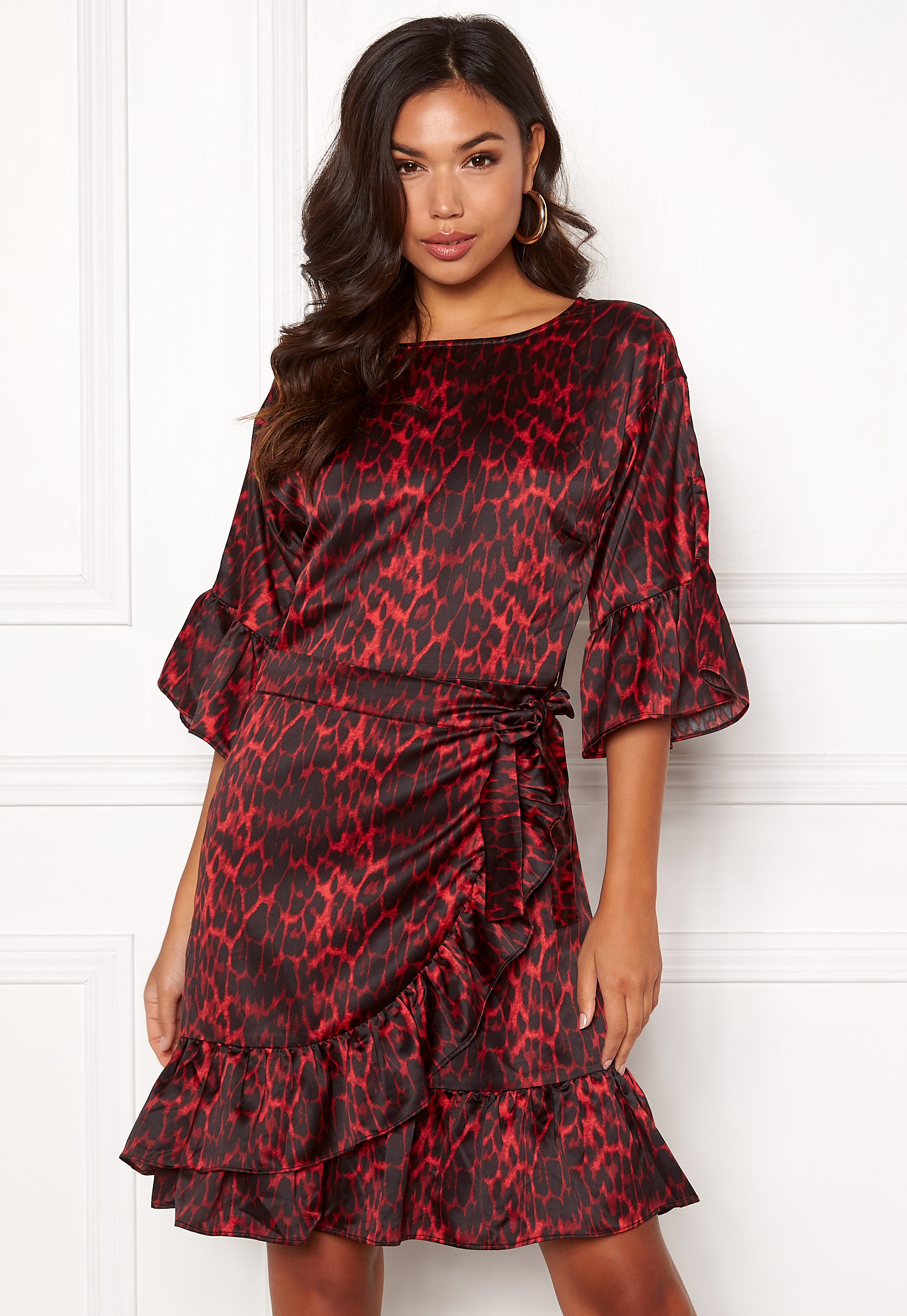 0d5263c703c4 Co couture Dress Rio Bubbleroom Sateen Animal Wrap Red vvrZ0qw