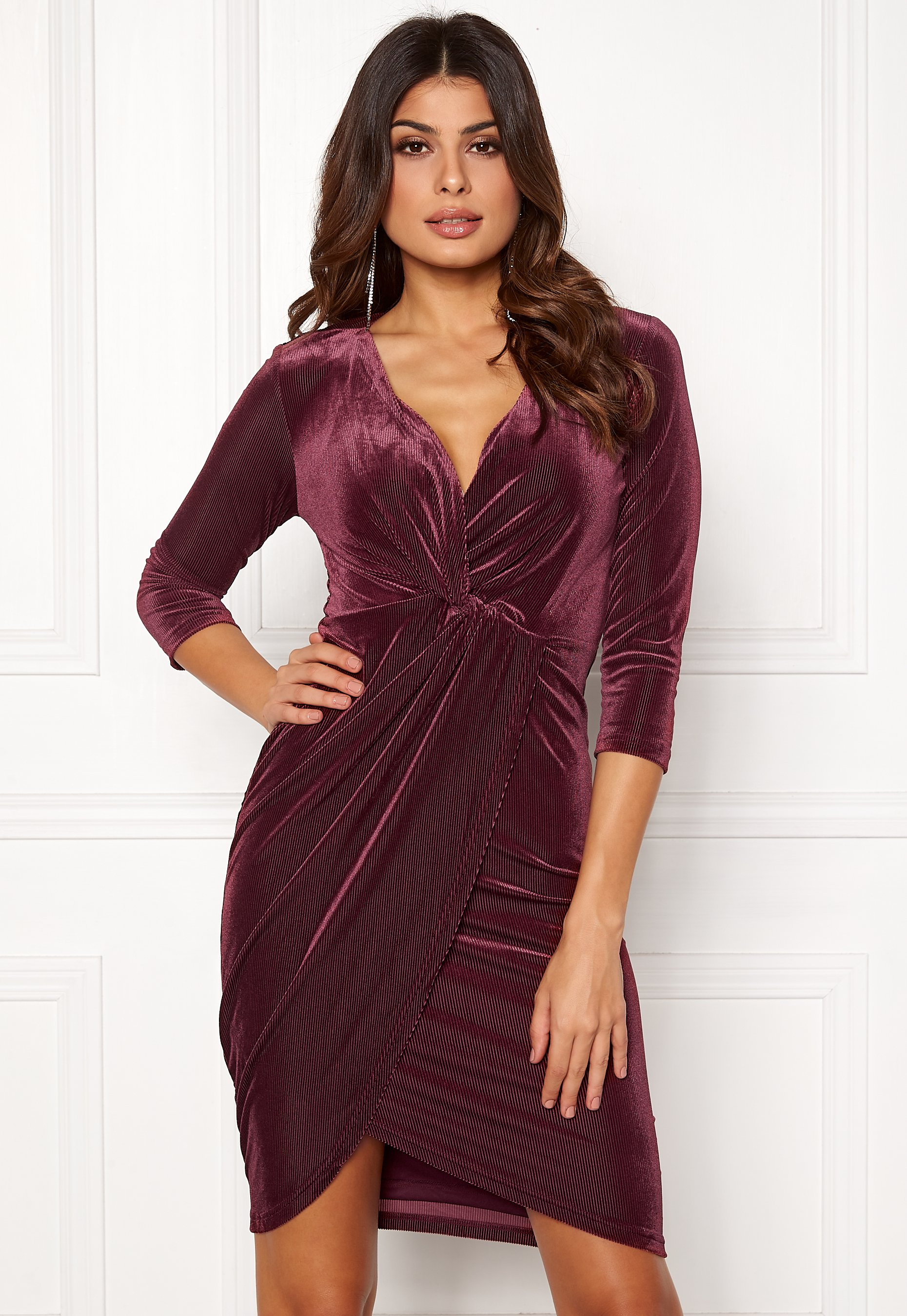 DRY LAKE Angelina Dress 608 Burgundy - Bubbleroom fe9b82c6cc87a