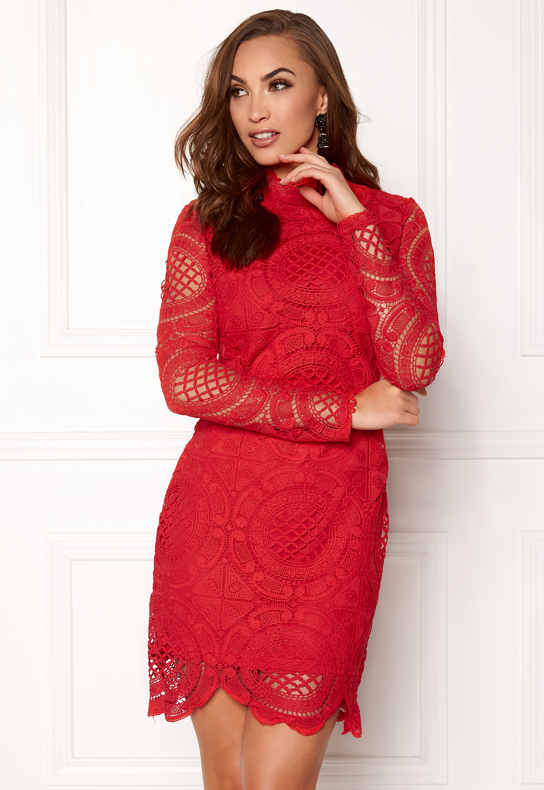 a0e381d0e38 Girl In Mind Lilah Lace Long Sleeve Red - Bubbleroom