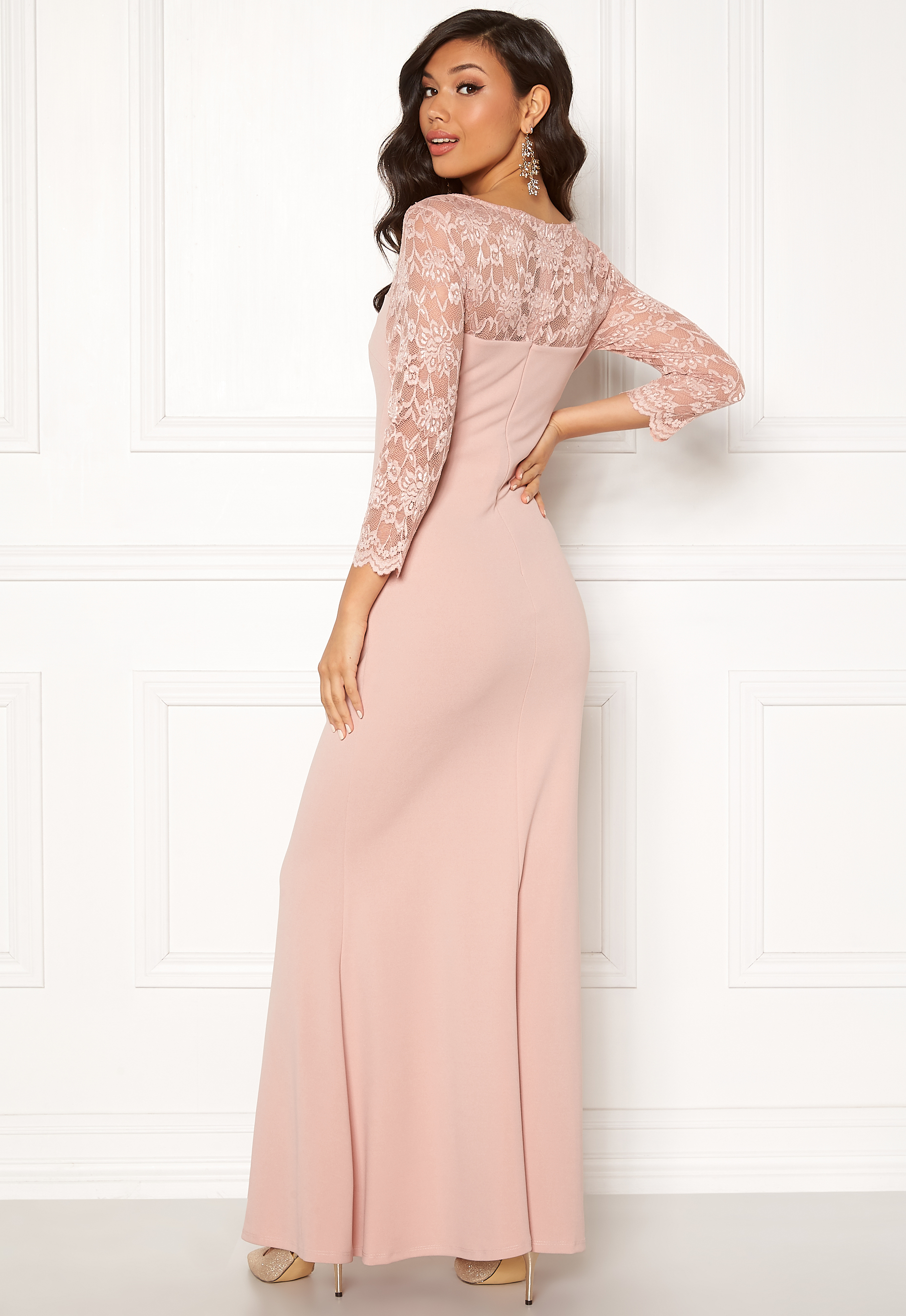0f2c4c4b Goddiva 3/4 Lace Trim Maxi Dress Blush - Bubbleroom