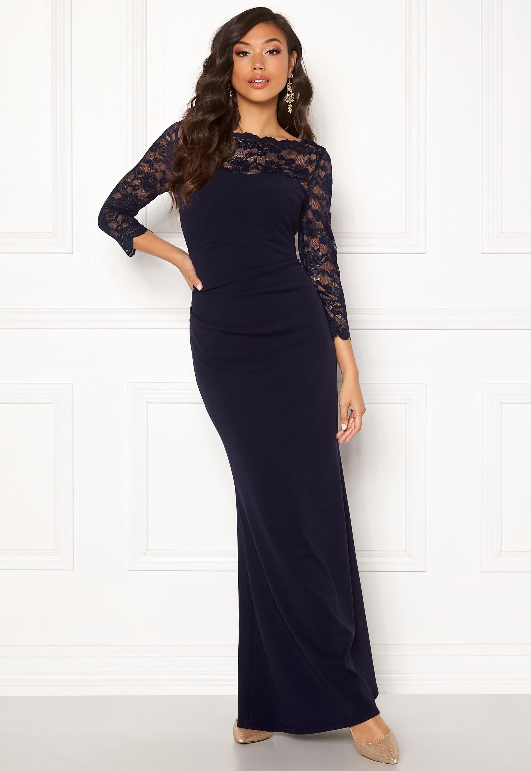 58439bf6 Goddiva 3/4 Lace Trim Maxi Dress Navy - Bubbleroom