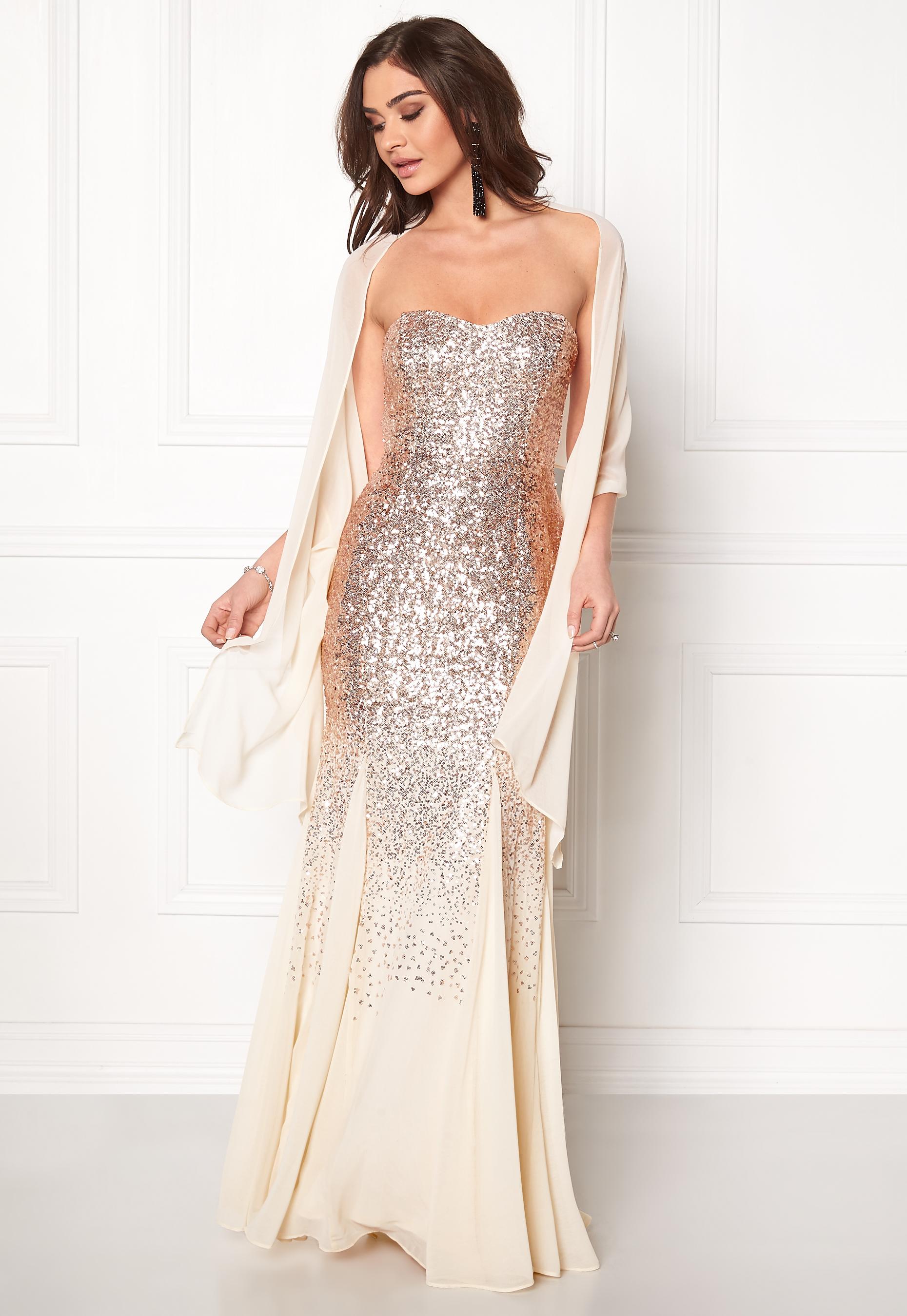 787fd76f Goddiva Bandeau Sequin Maxi Dress Champagne - Bubbleroom