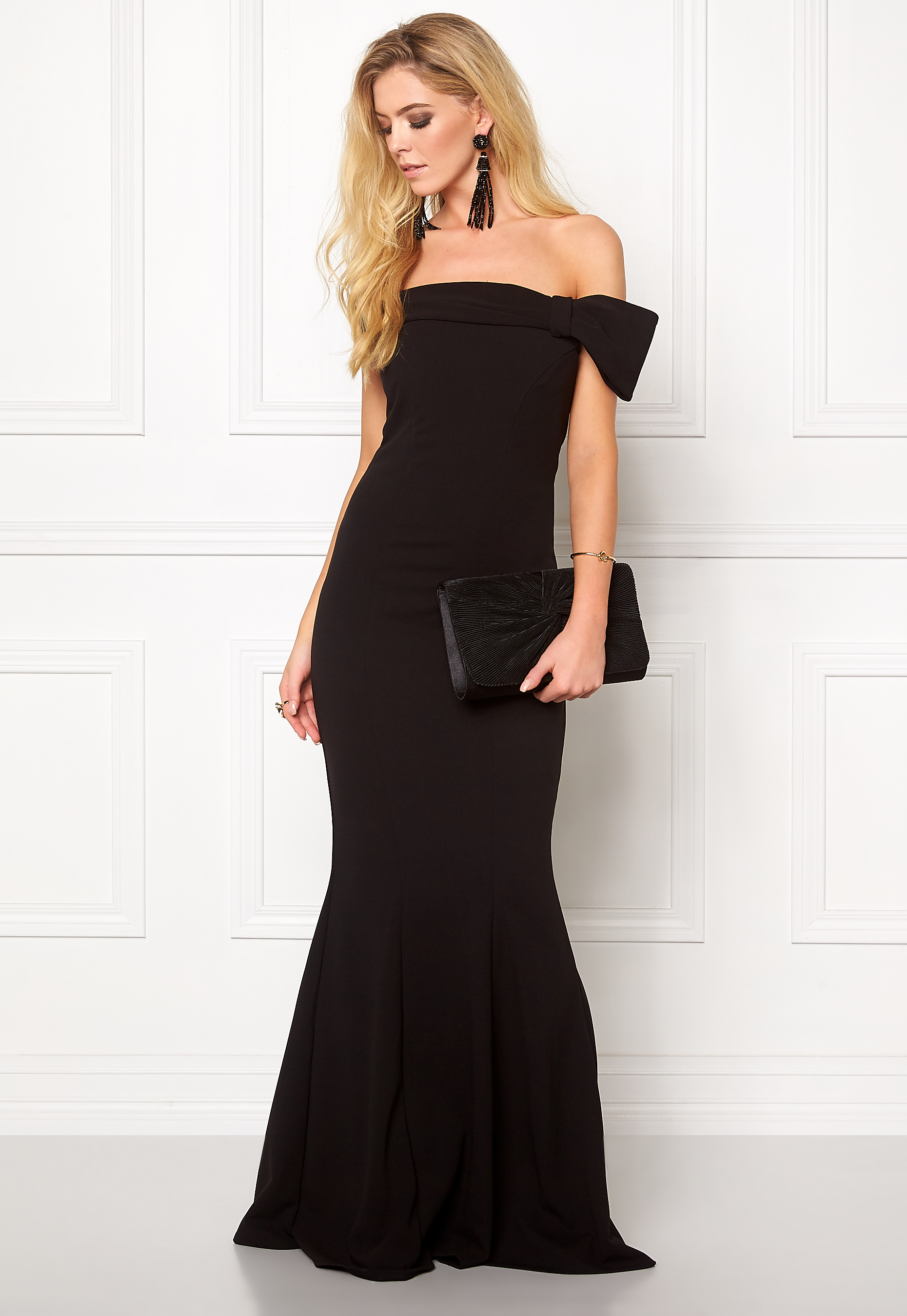 8802c10ba480 Goddiva Bardot Fishtail Maxi Dress Black - Bubbleroom