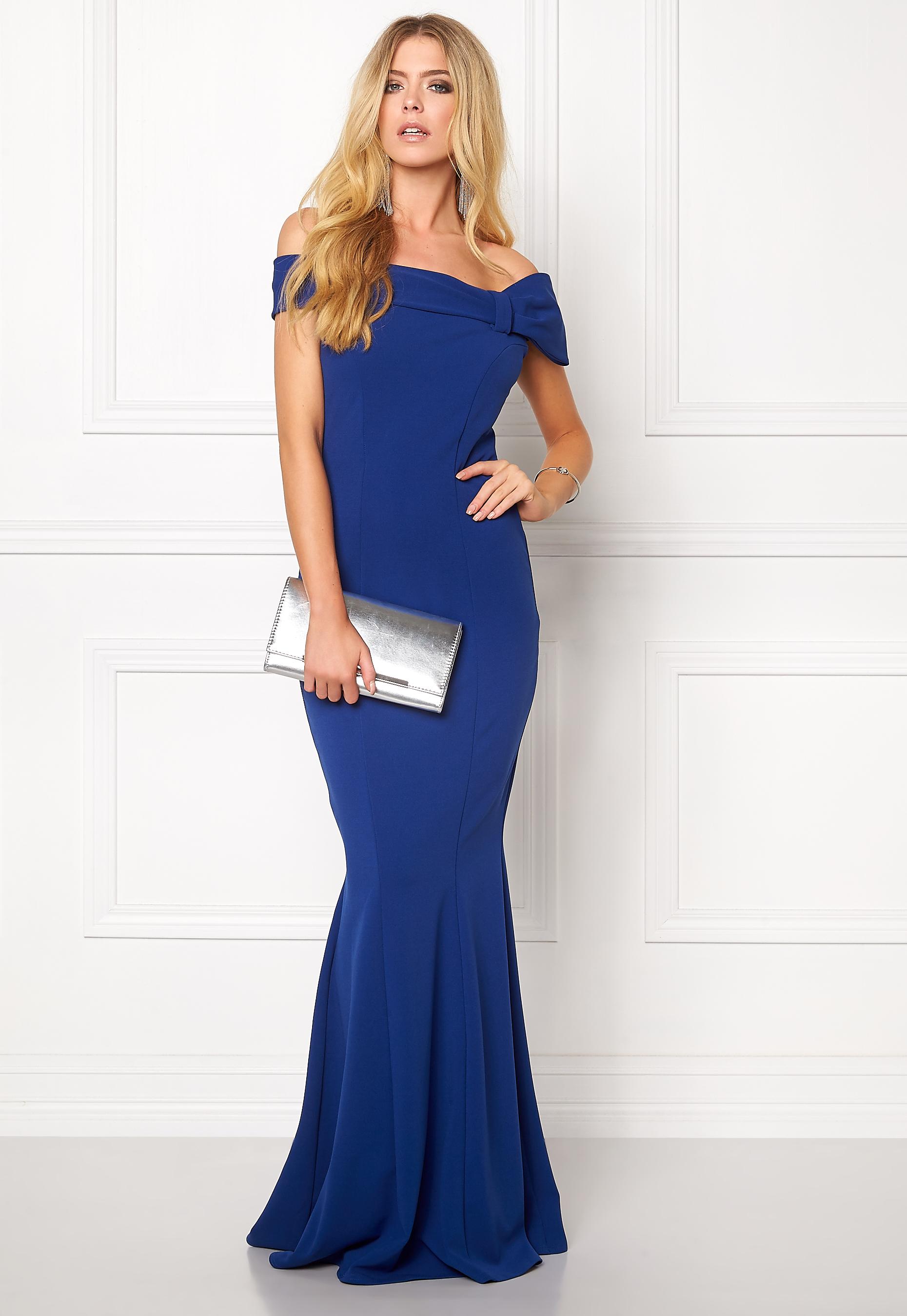 5d382d503e41 Goddiva Bardot Fishtail Maxi Dress Royal Blue - Bubbleroom