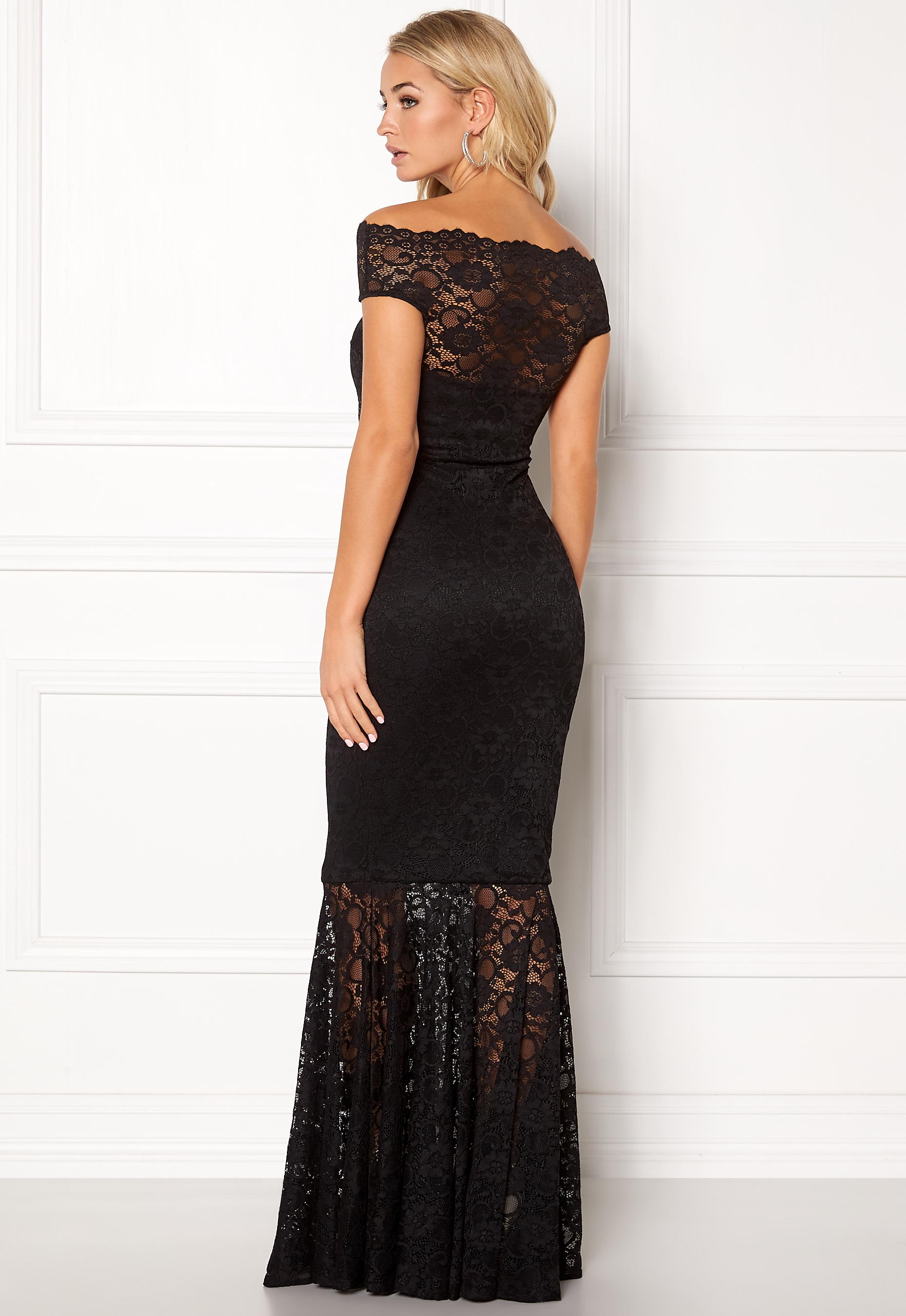 fc07e1f44c0 Goddiva Bardot Lace Maxi Dress Black - Bubbleroom