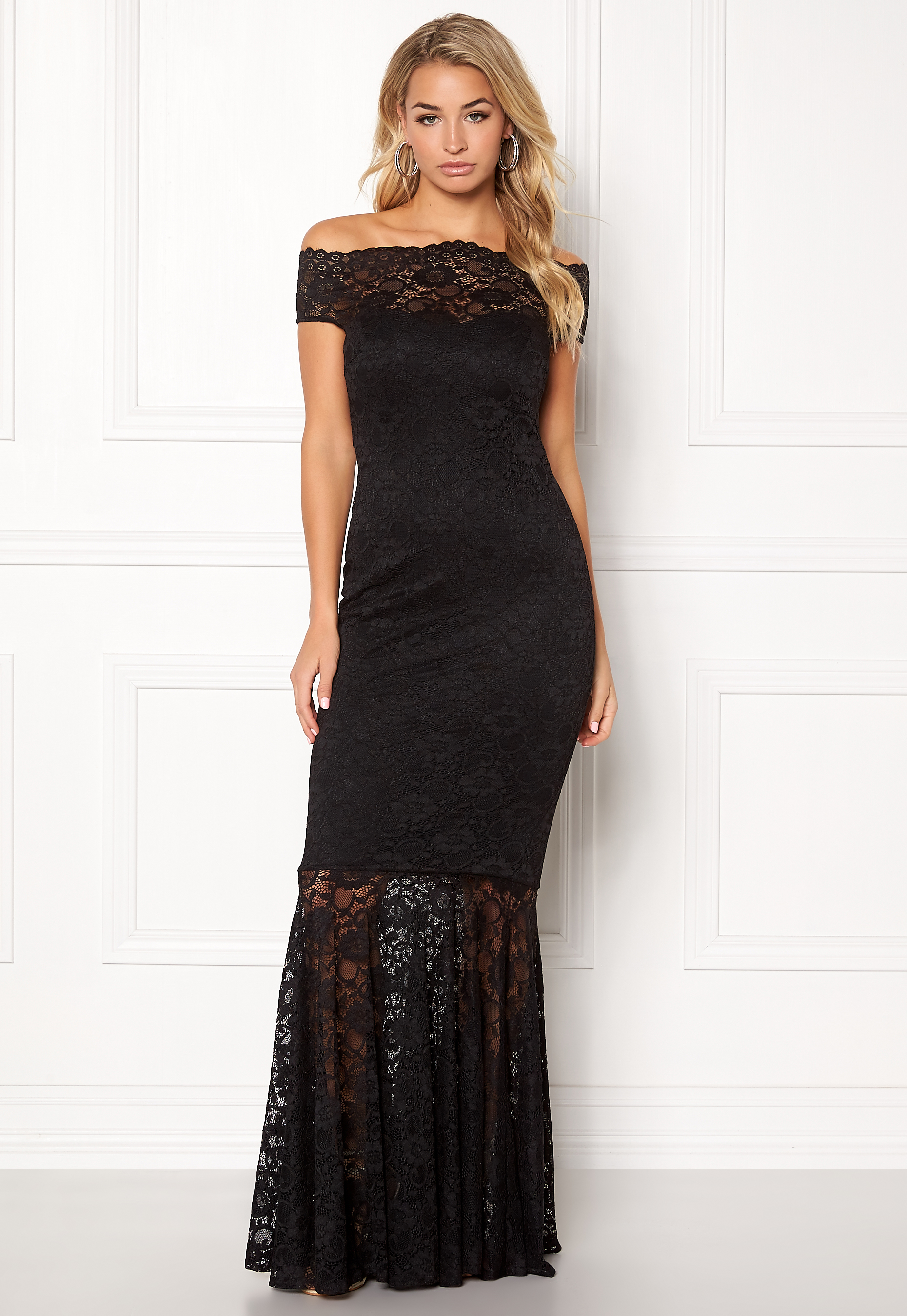 2dc55878a0 Goddiva Bardot Lace Maxi Dress Black - Bubbleroom