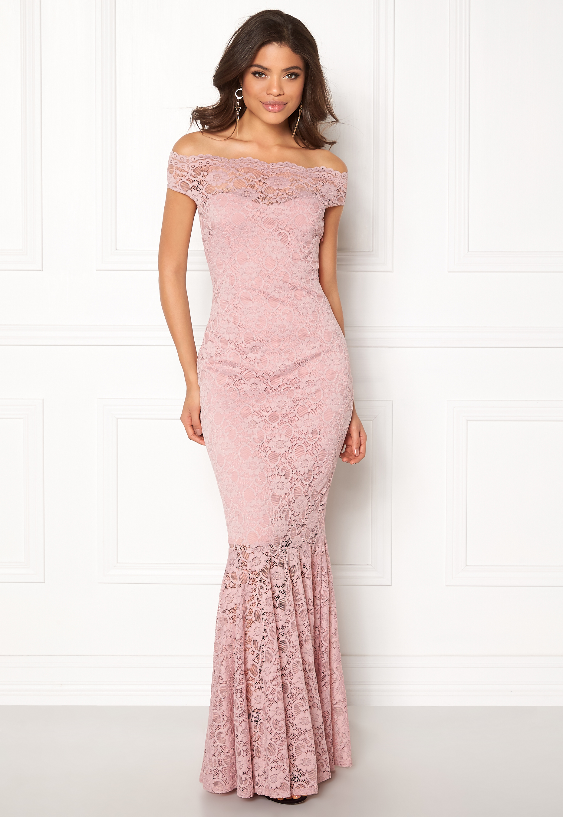 d6b78071f92 Goddiva Bardot Lace Maxi Dress Mauve - Bubbleroom