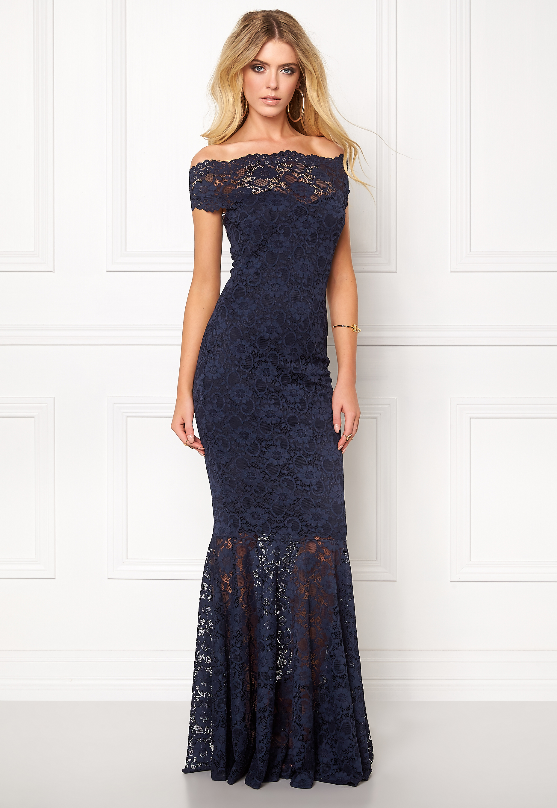 bc0112300ce5 Goddiva Bardot Lace Maxi Dress Navy - Bubbleroom