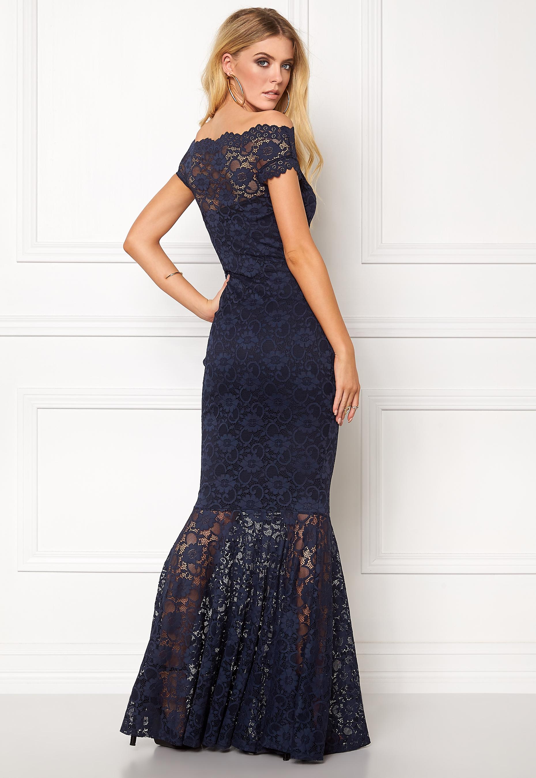 Goddiva Bardot Lace Maxi Dress Navy Bubbleroom