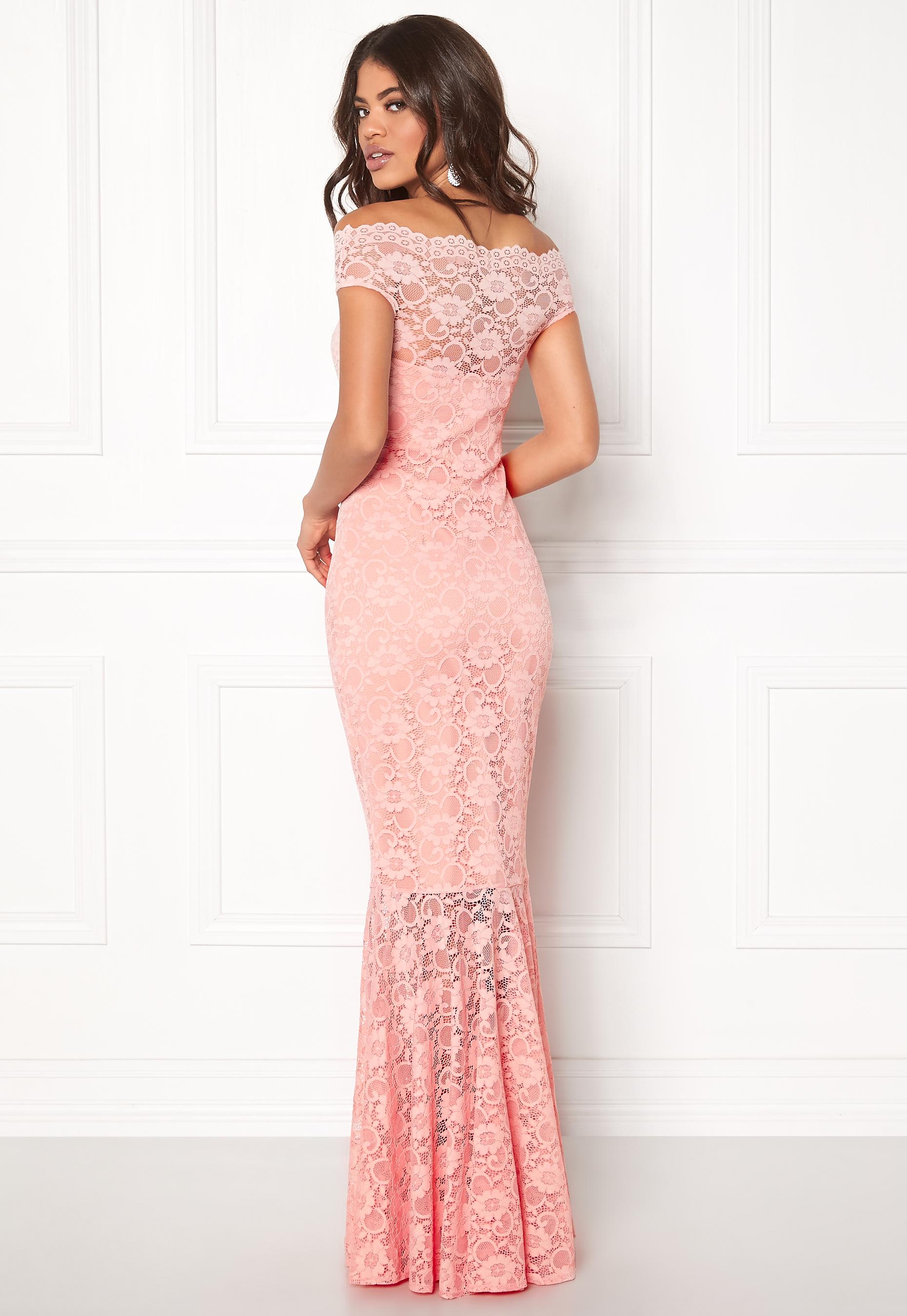 Goddiva Bardot Lace Maxi Dress Pink Bubbleroom