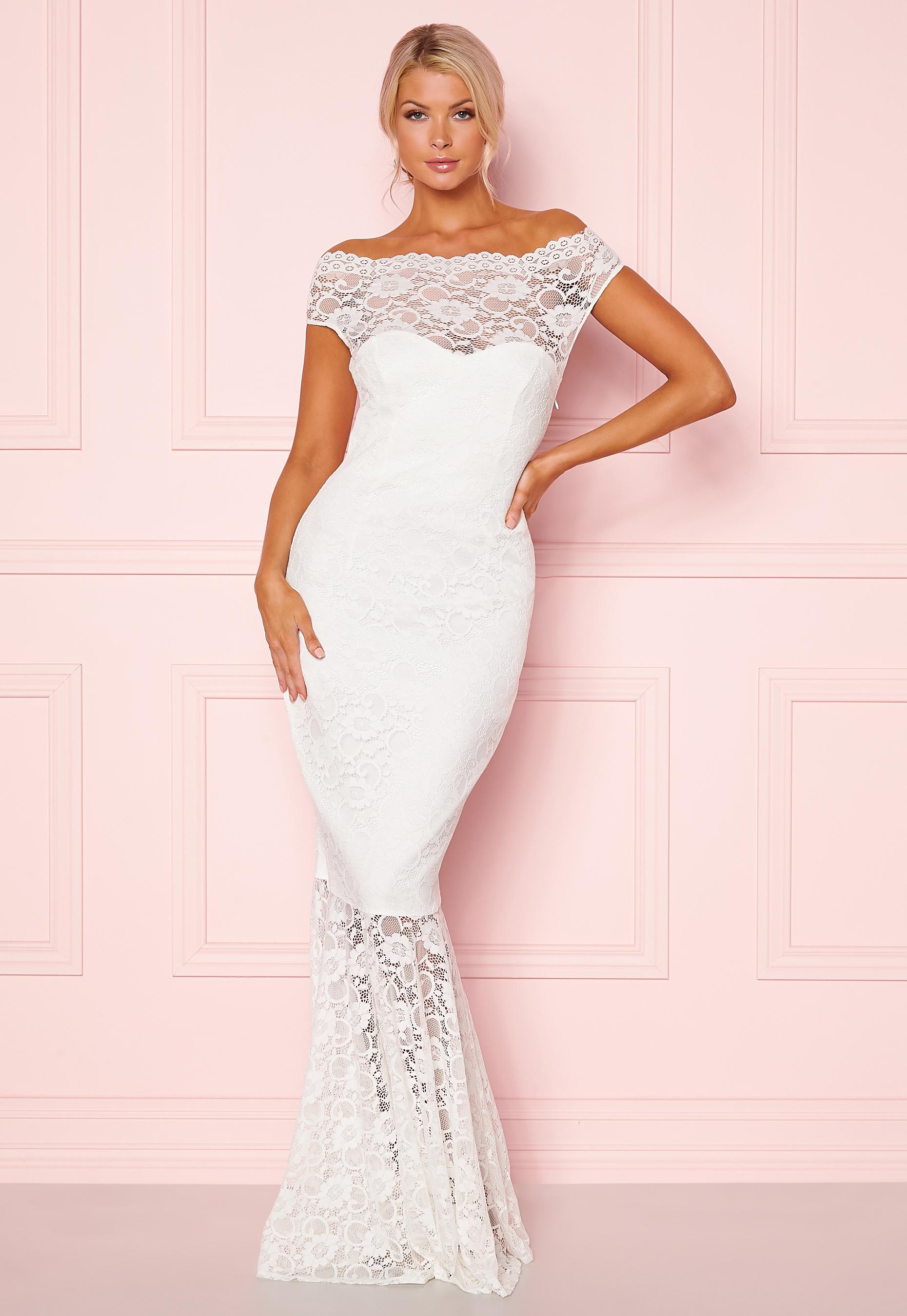 Goddiva Bardot Lace Maxi Dress White Bubbleroom