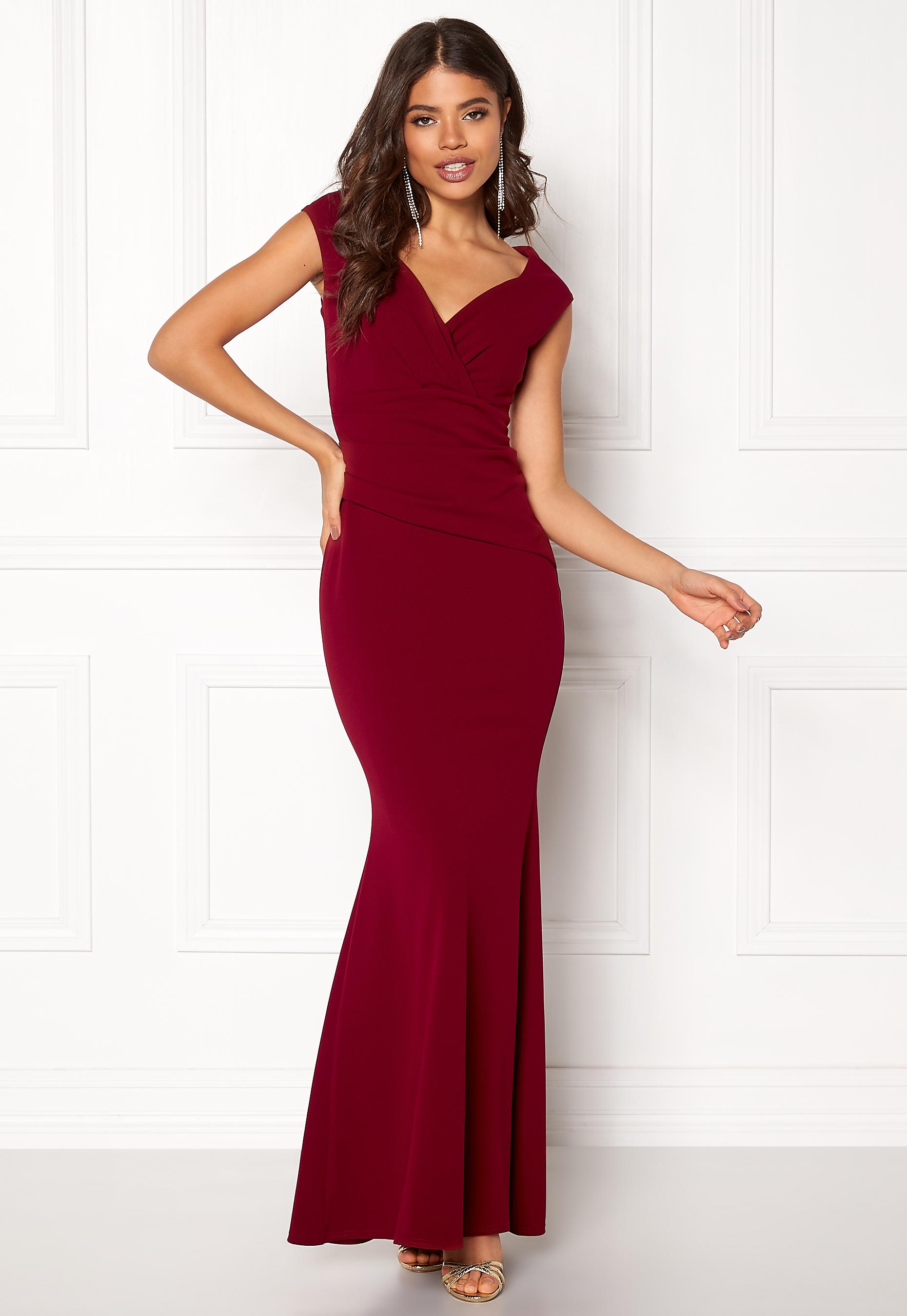 f09542786f5ba Goddiva Bardot Pleat Maxi Dress Wine Bubbleroom.eu