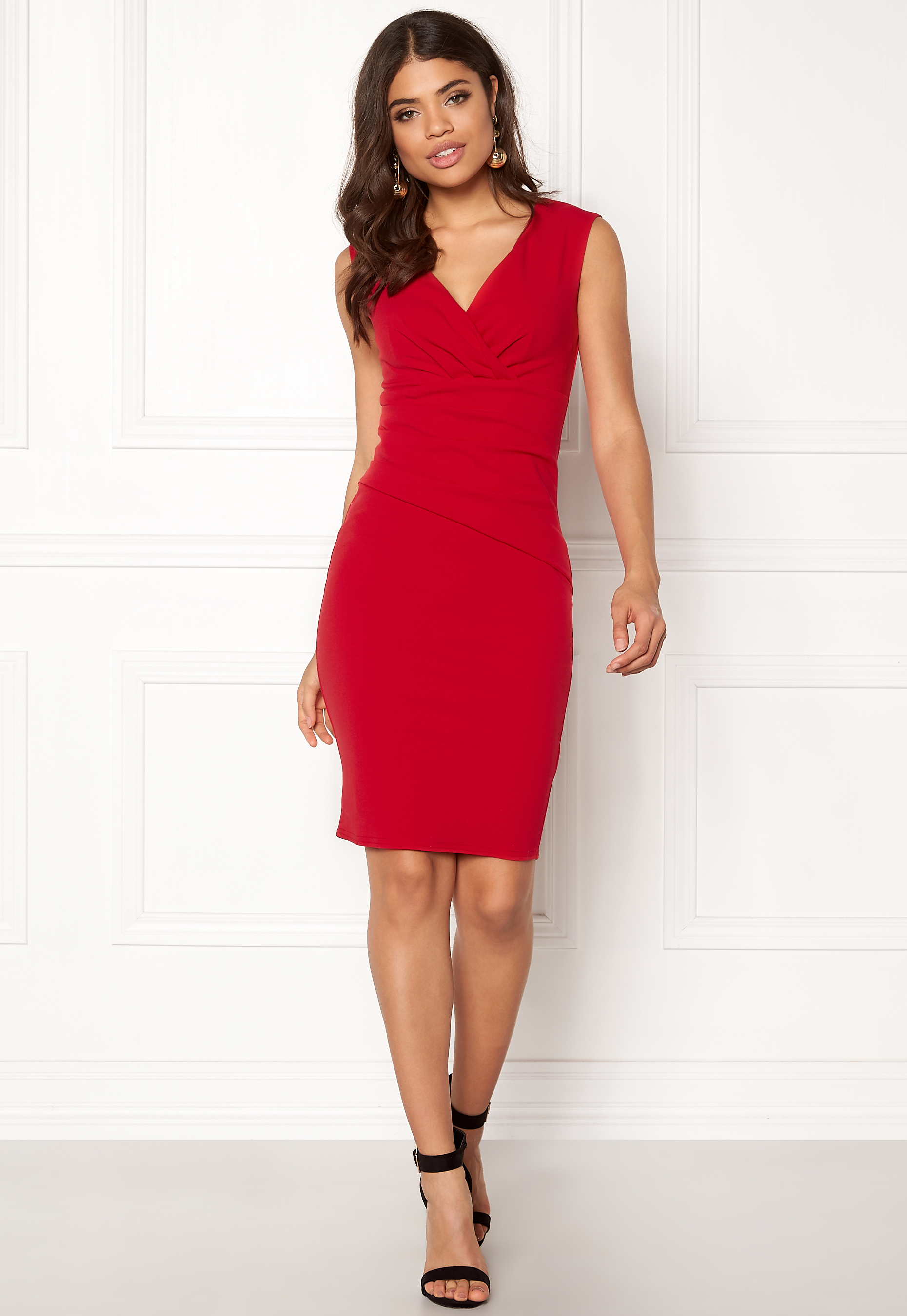 aeb67301c556 Goddiva Bardot Pleat Midi Dress Red - Bubbleroom