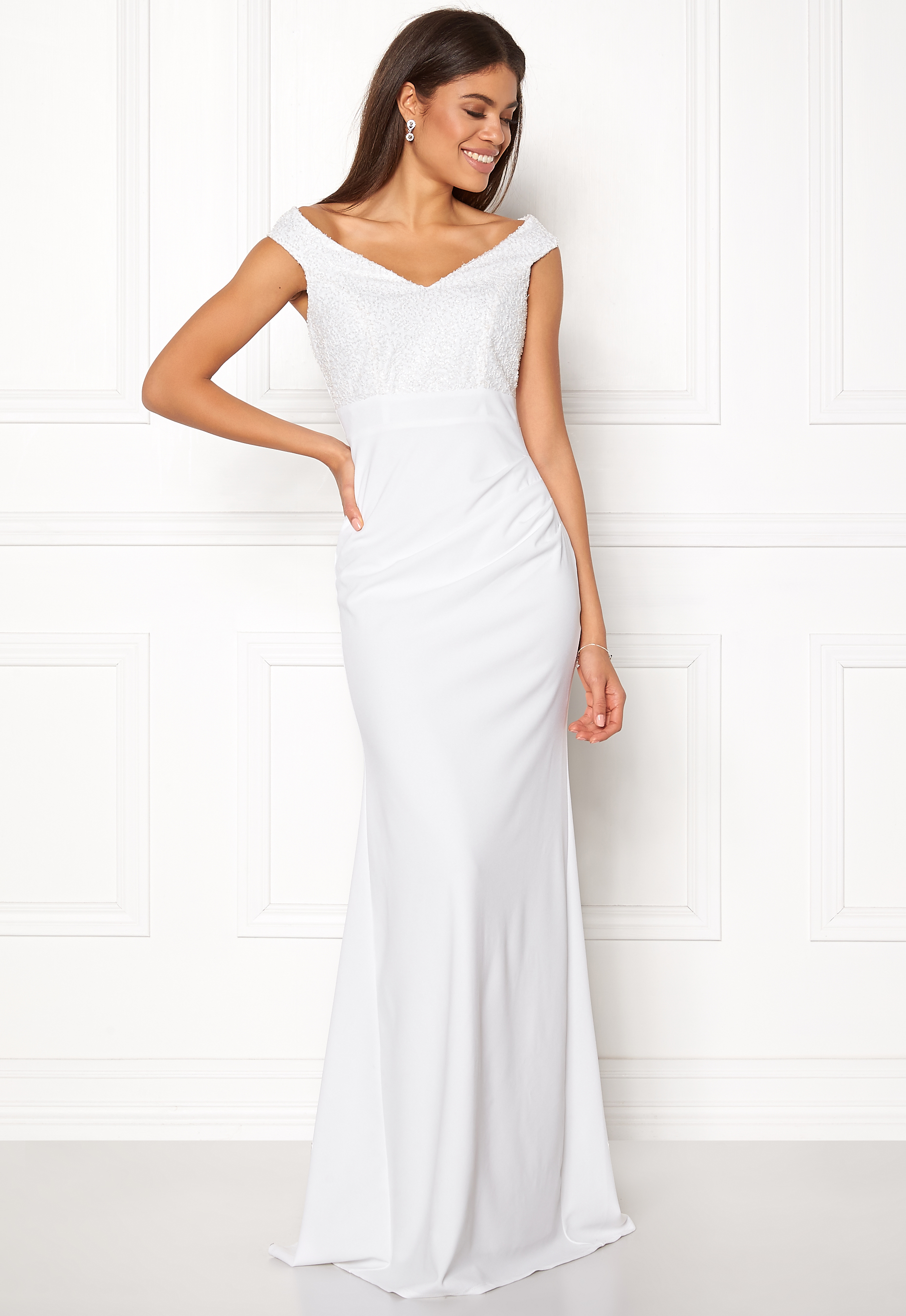 17e3a38bfc4 Goddiva Bardot Sequin Maxi Dress Cream - Bubbleroom
