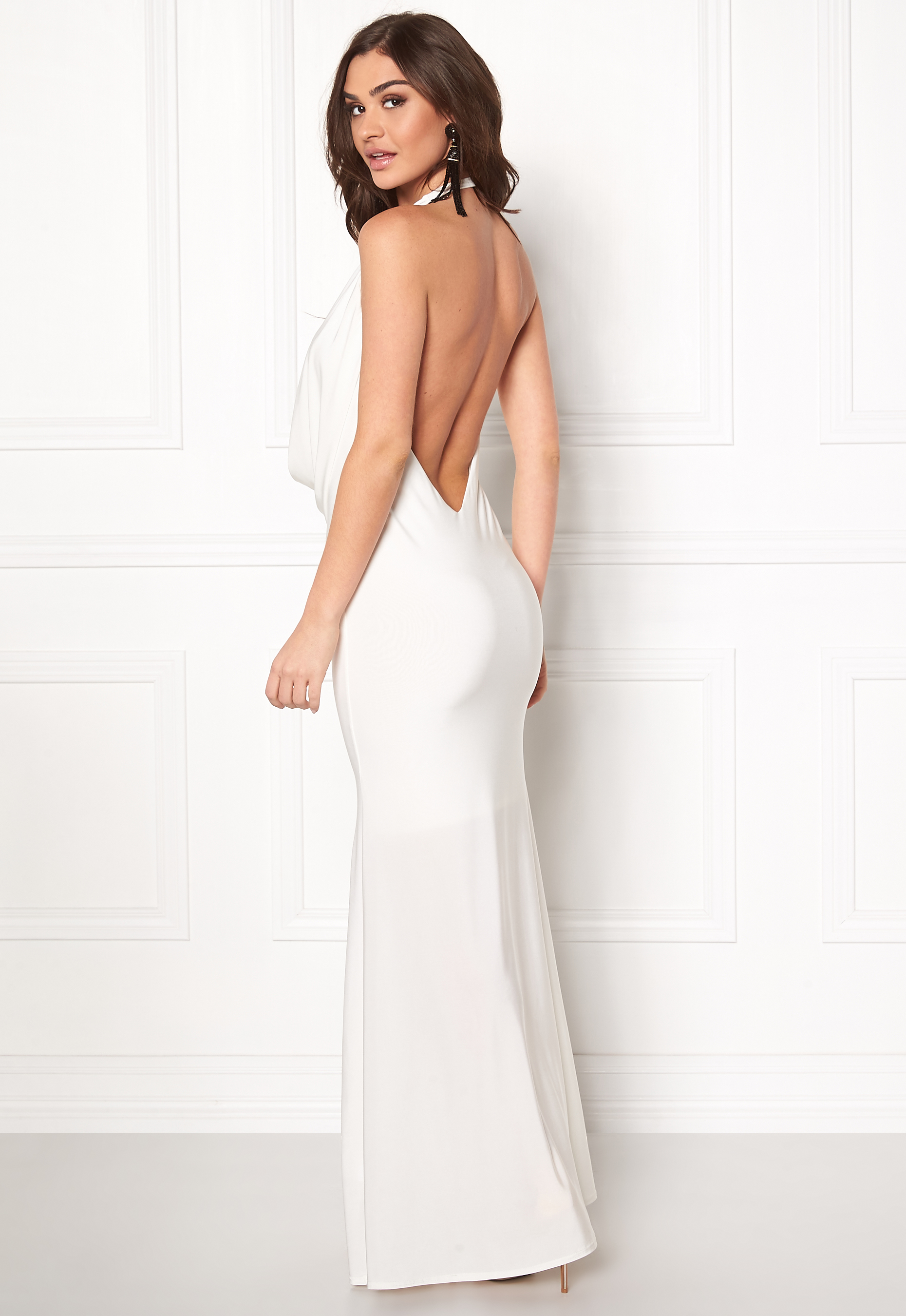 Goddiva Cowl Neck Maxi Dress White - Bubbleroom