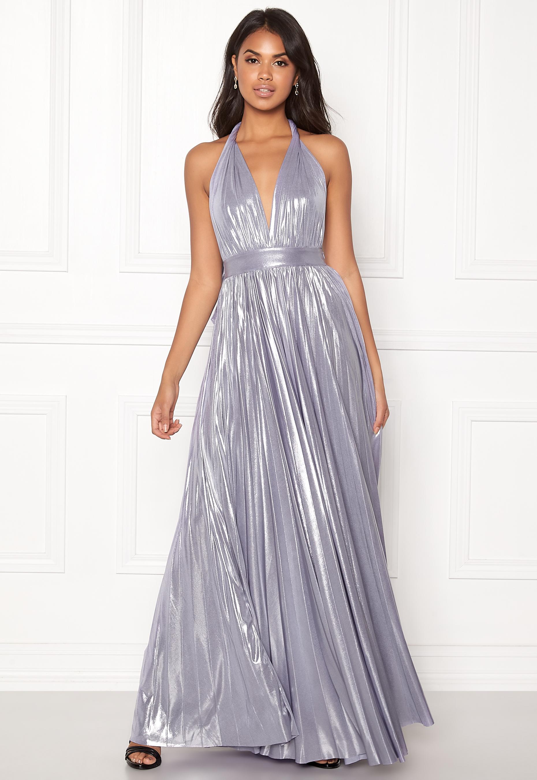 6271b6ac72 Goddiva Deep V Neck Metallic Dress Lavender - Bubbleroom