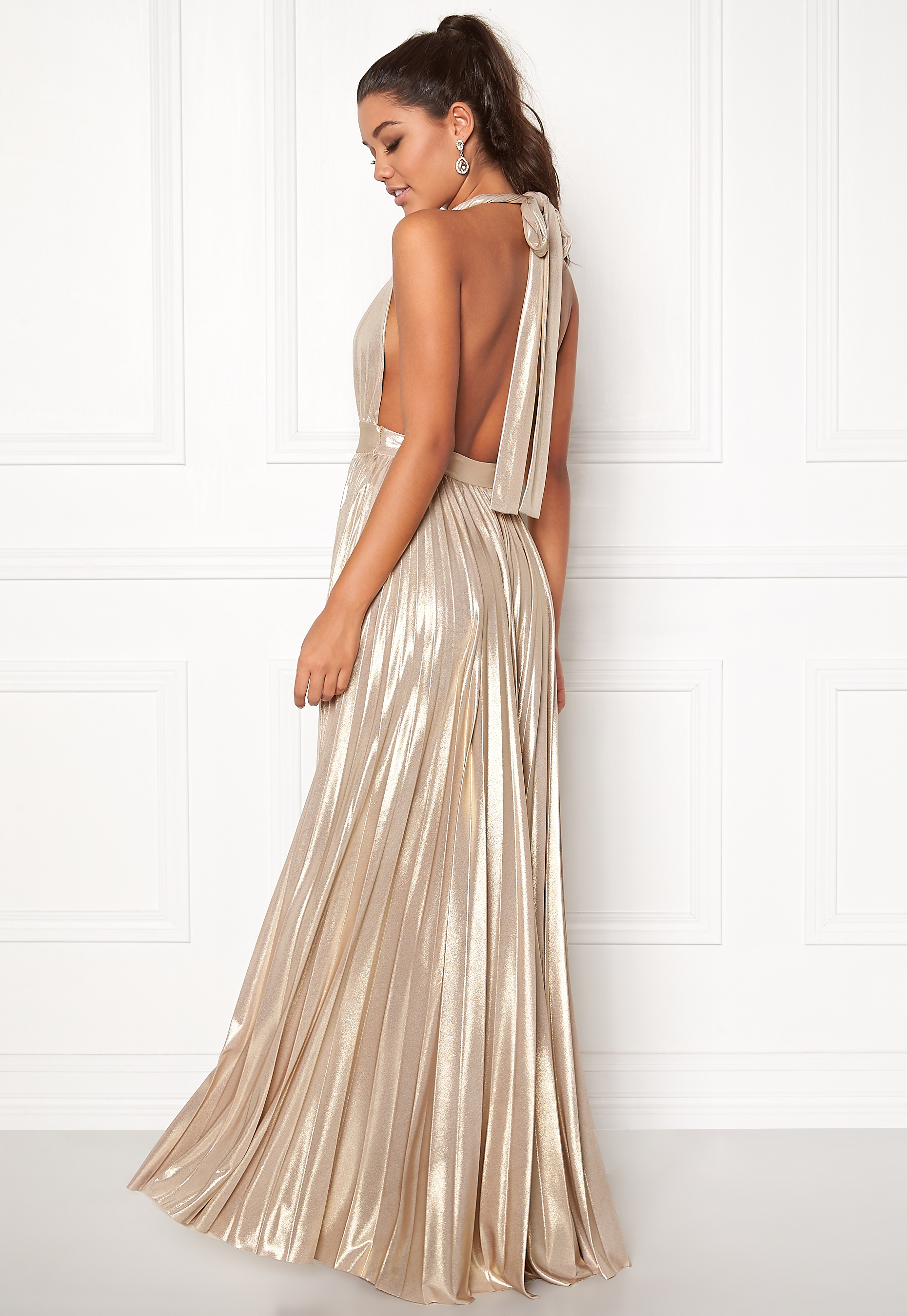 Goddiva Deep V Neck Metallic Gold - Bubbleroom