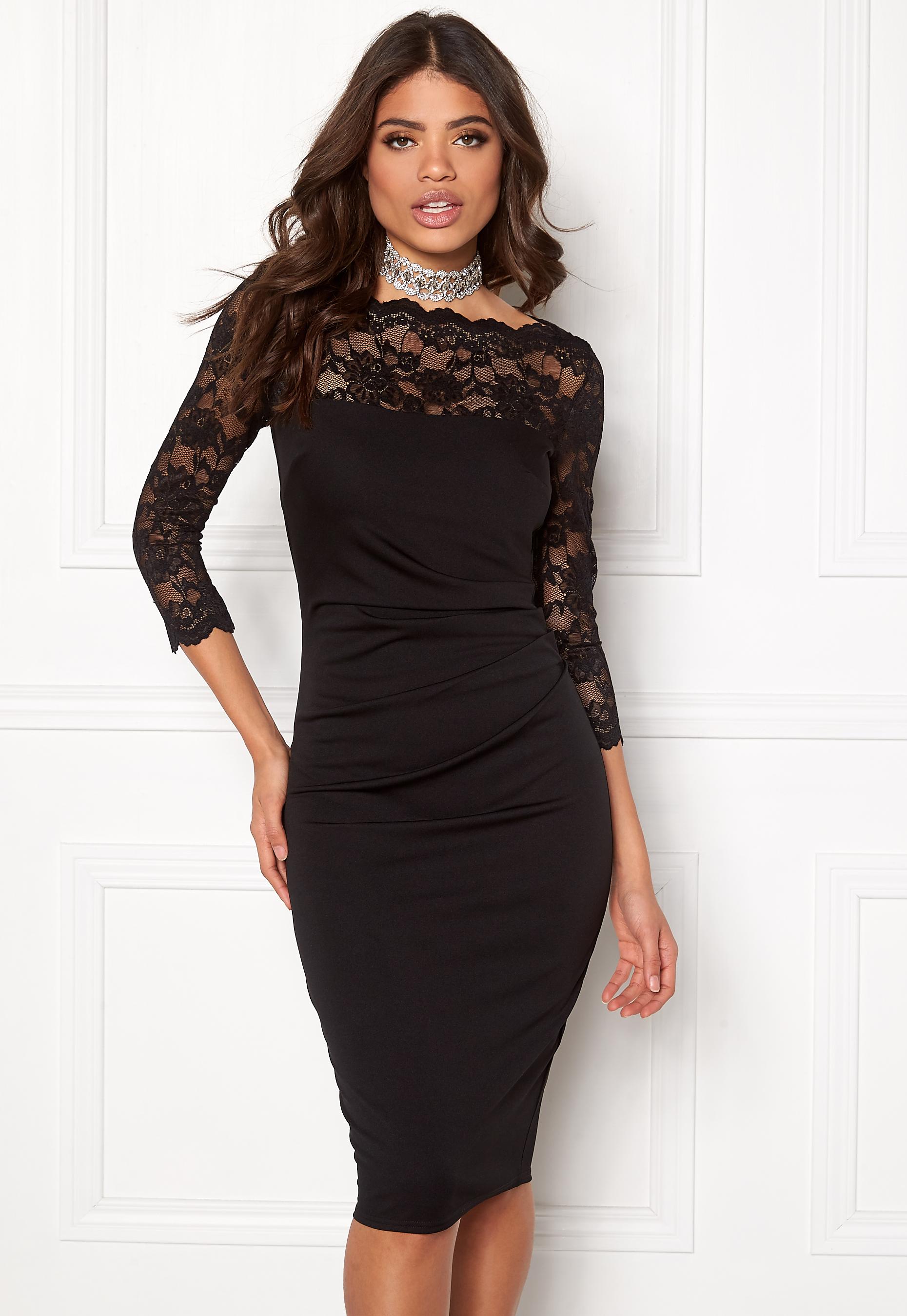 Goddiva Fitted Midi Dress Black - Bubbleroom 40a2b1aca9b4