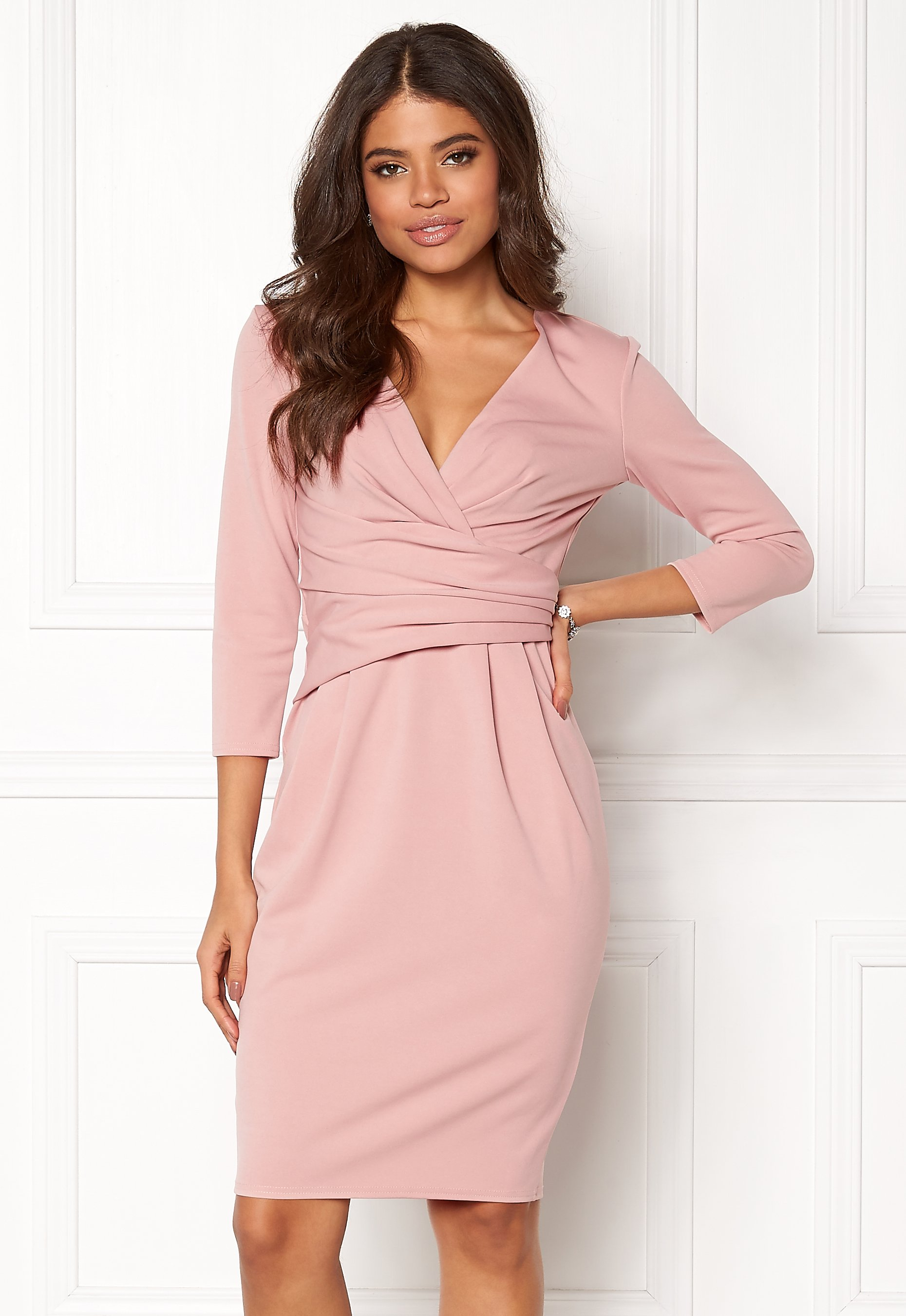 7a631be24e Goddiva Fitted Pleated Midi Dress Blush - Bubbleroom