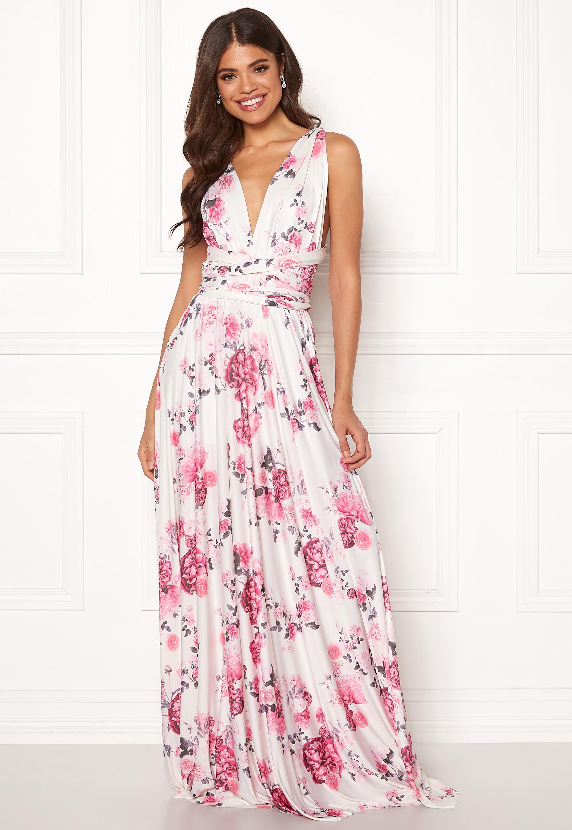 4d542ebb Goddiva Multi Tie Maxi Dress Floral Print - Bubbleroom