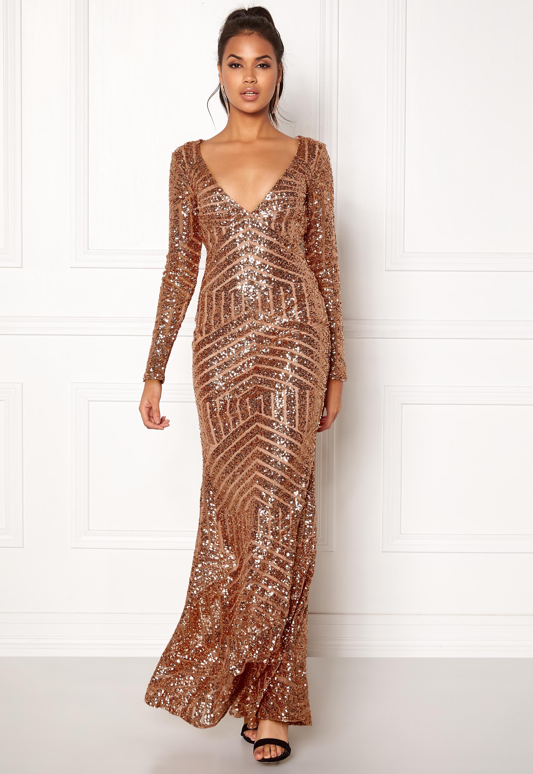 83eb3c944ef Goddiva Open Back Sequin Dress Champagne - Bubbleroom