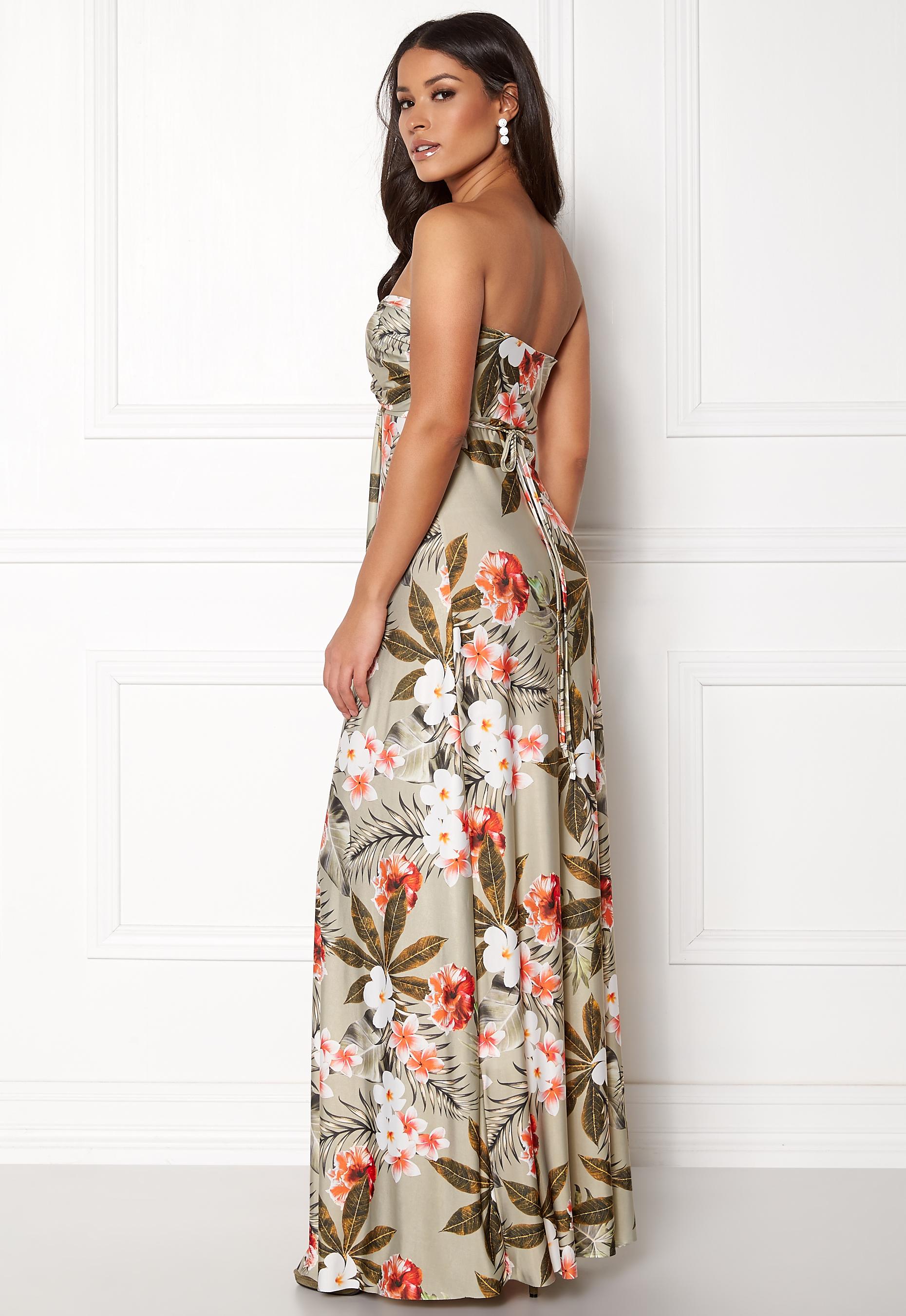 68fc7f2ffc Goddiva Resort Bandeau Maxi Dress Tropical Print - Bubbleroom