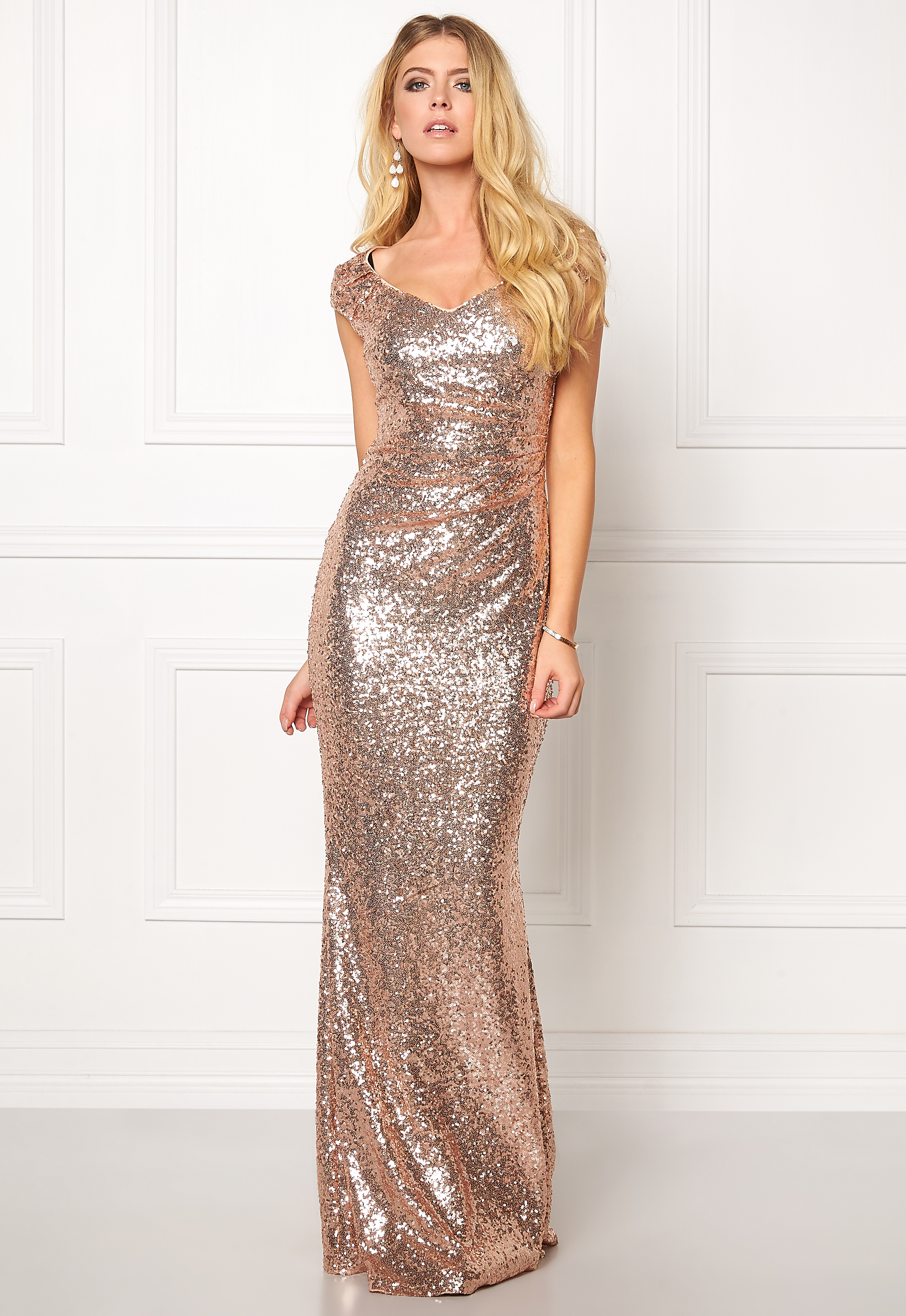 17564707e15 Goddiva Sequin Maxi Dress Champagne - Bubbleroom
