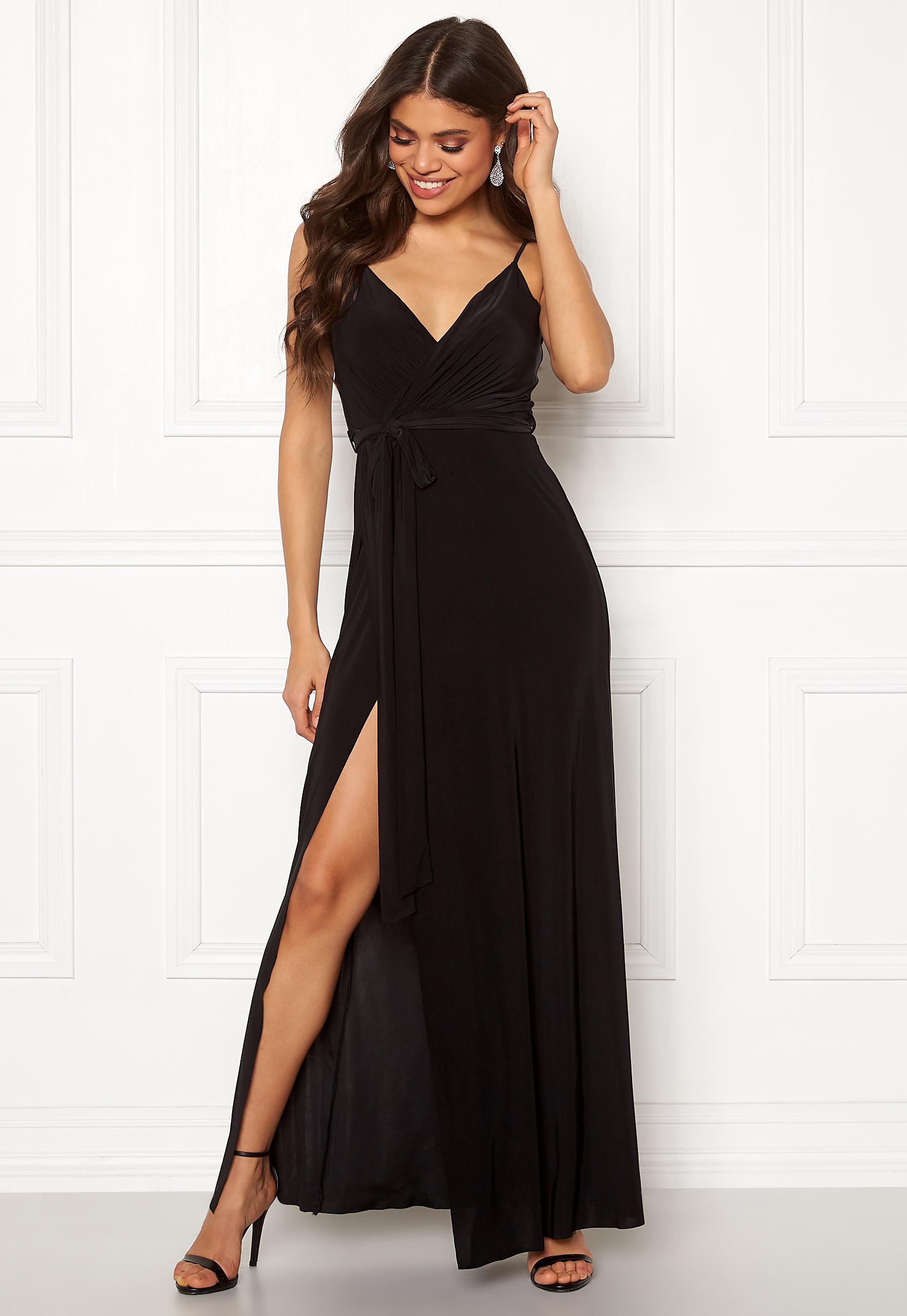 bd08b0b69282 Goddiva Wrap Front Maxi Dress Black - Bubbleroom