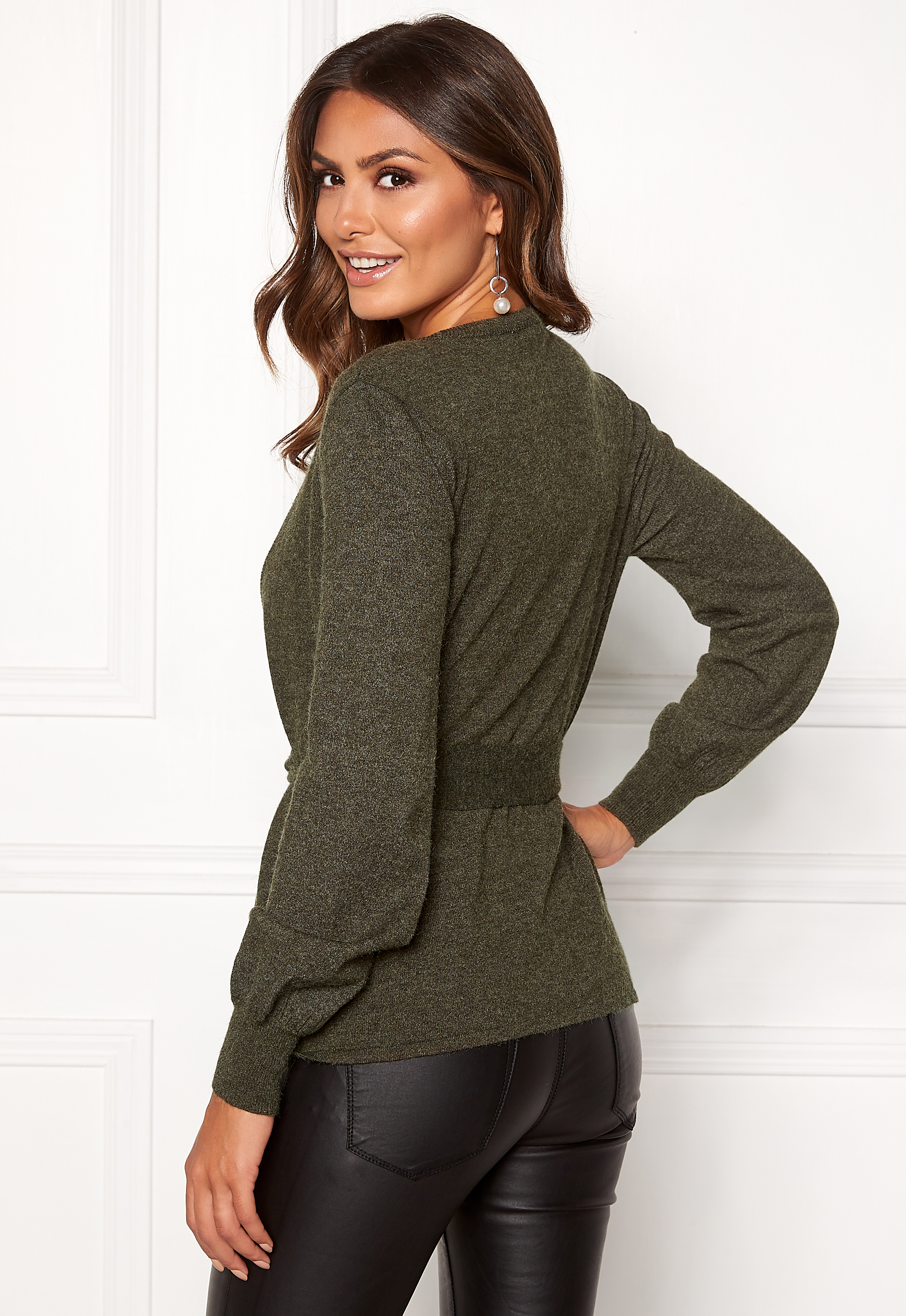 570dedb44e Happy Holly Freja cardigan Dark green   Melange - Bubbleroom